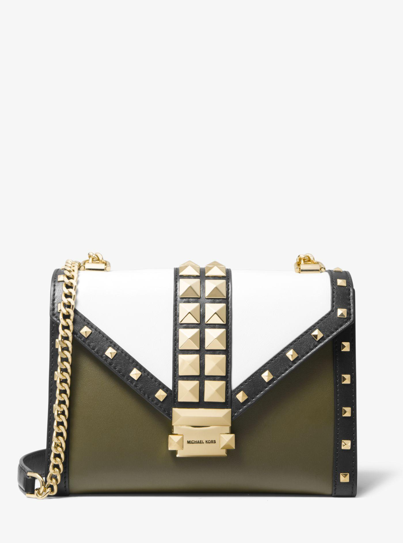 a9ecb62266b2b Michael Kors - Multicolor Whitney Large Studded Tri-color Leather  Convertible Shoulder Bag - Lyst. View fullscreen
