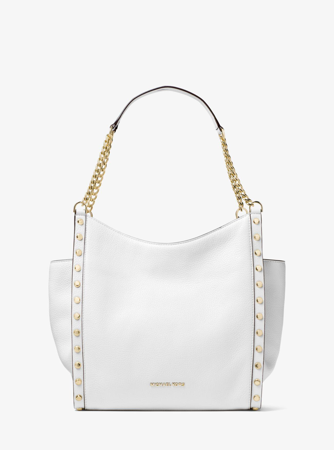 a6f9f455ccf243 Michael Kors Newbury Studded Pebbled Leather Chain Tote Bag in White ...