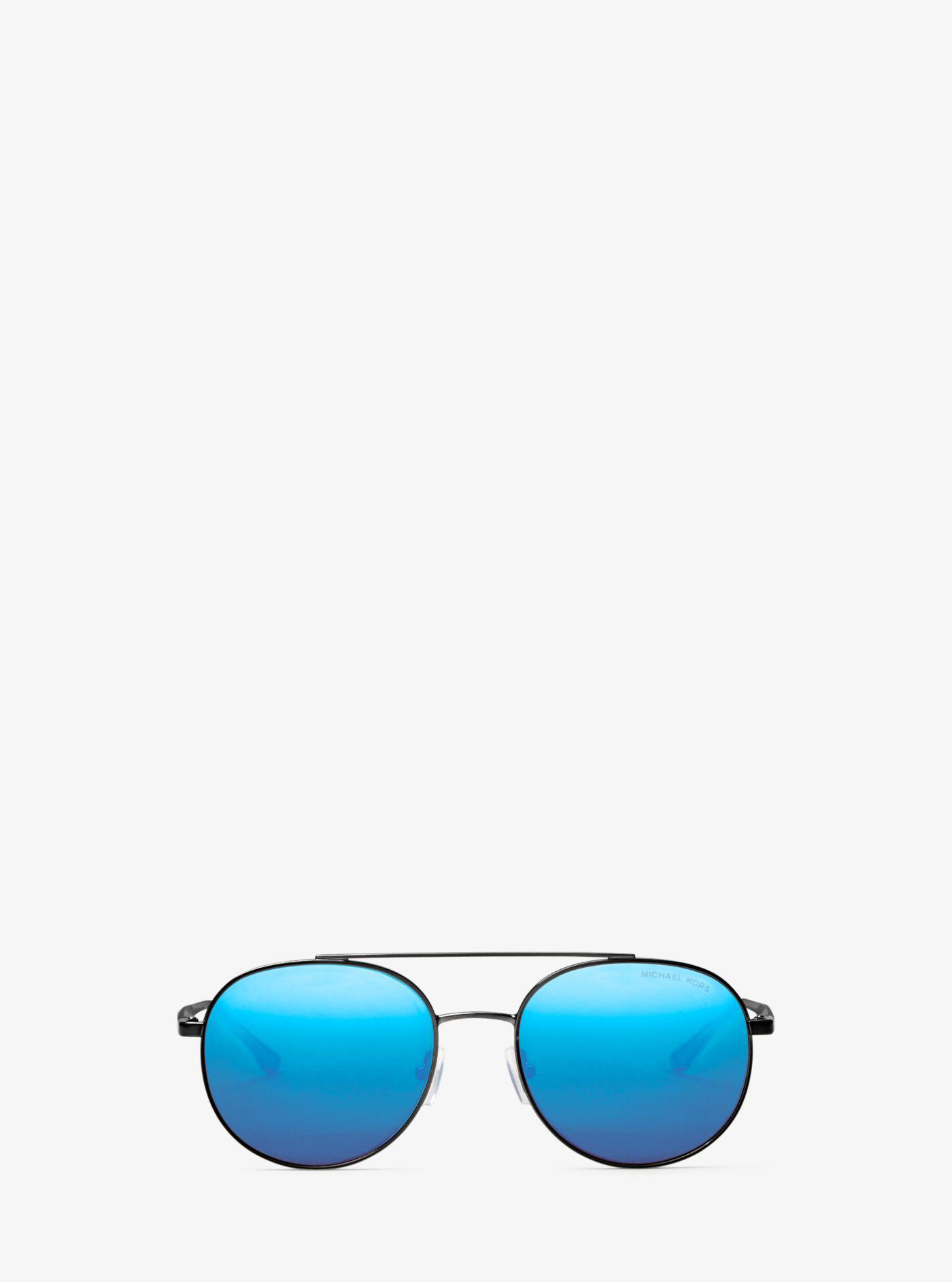 7910c1819c Lyst - Michael Kors Lon Rounded Aviator Sunglasses in Blue