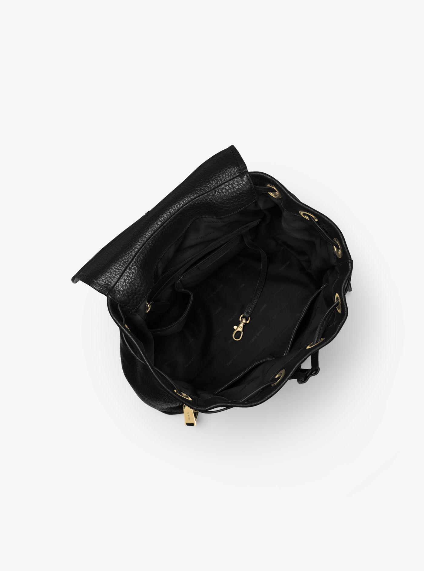 3354baaf6a51 ... discount michael kors black viv large leather backpack lyst. view  fullscreen e33ff 8ee6b
