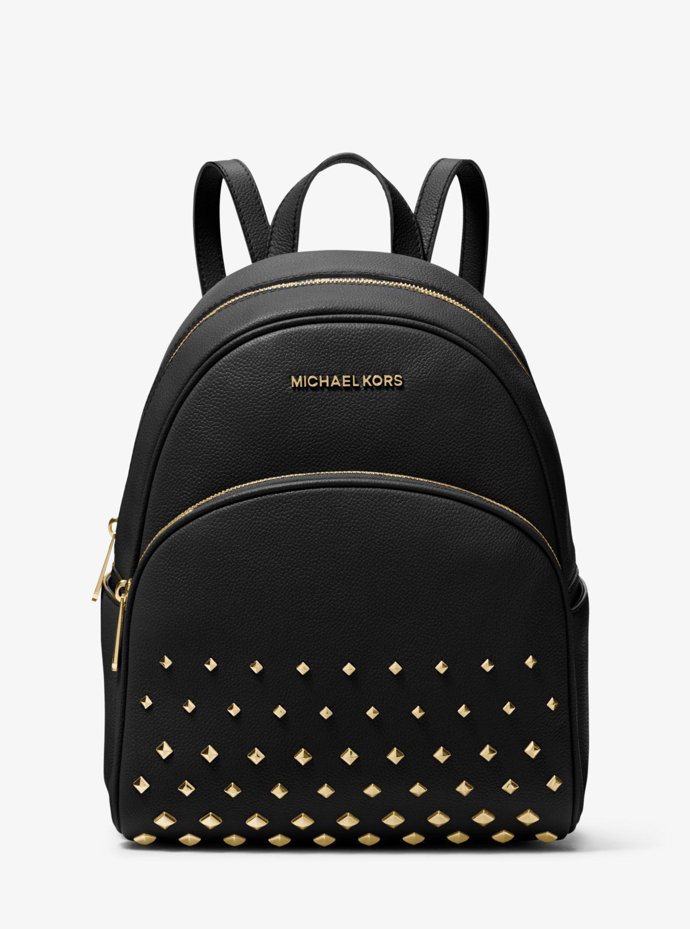 Michael Kors - Black Abbey Medium Studded Pebbled Leather Backpack - Lyst.  View fullscreen 9625b072625ba