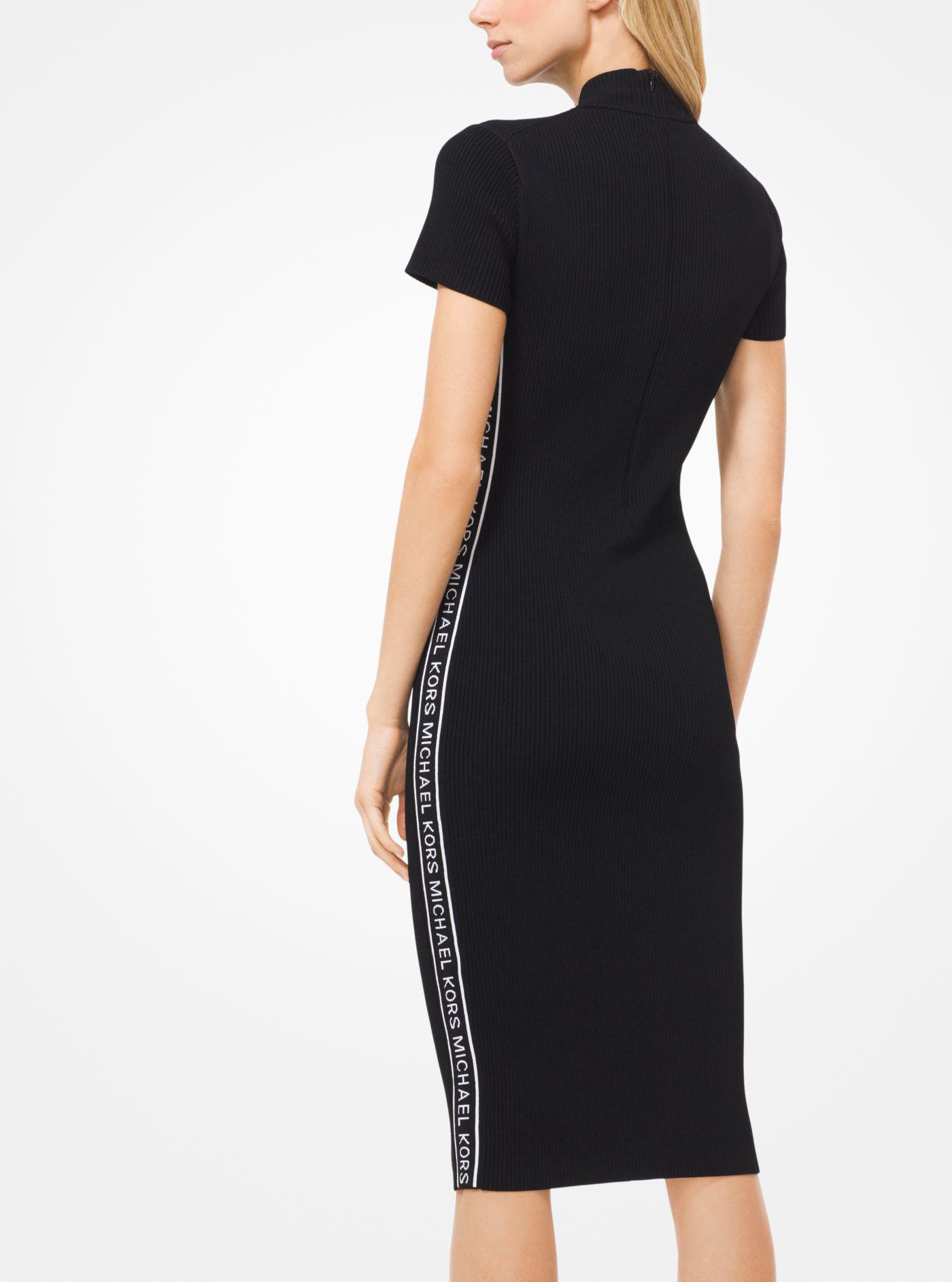 c4c75ca7bca Michael Kors Logo Tape Ribbed Knit Dress in Black - Lyst
