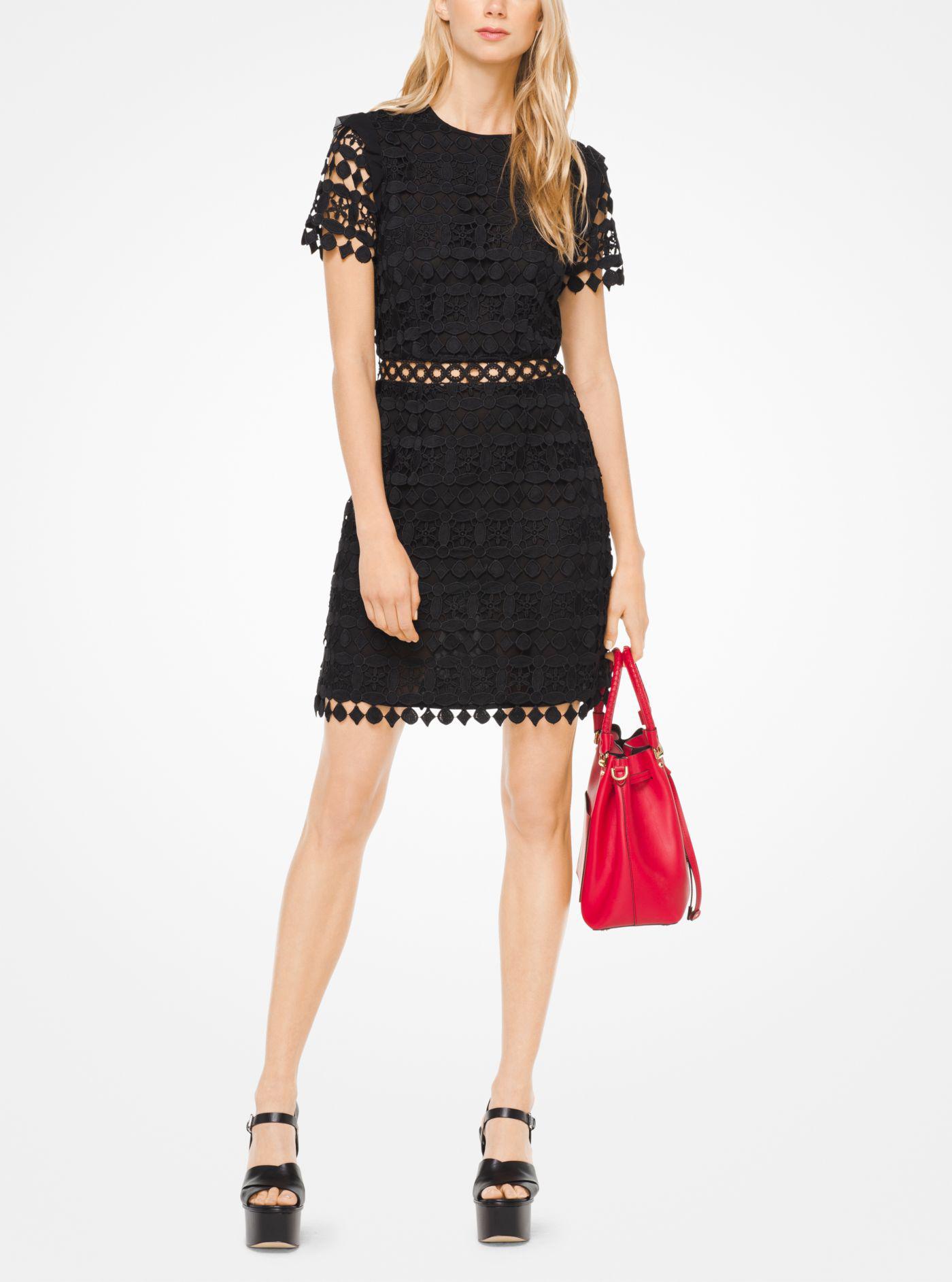Lyst - Michael Kors Geometric Floral Lace Dress in Black 9f586181c6