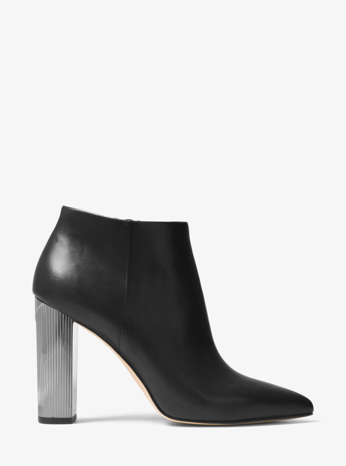 a767082ef5d1 Michael Kors Paloma Leather Bootie in Black - Lyst