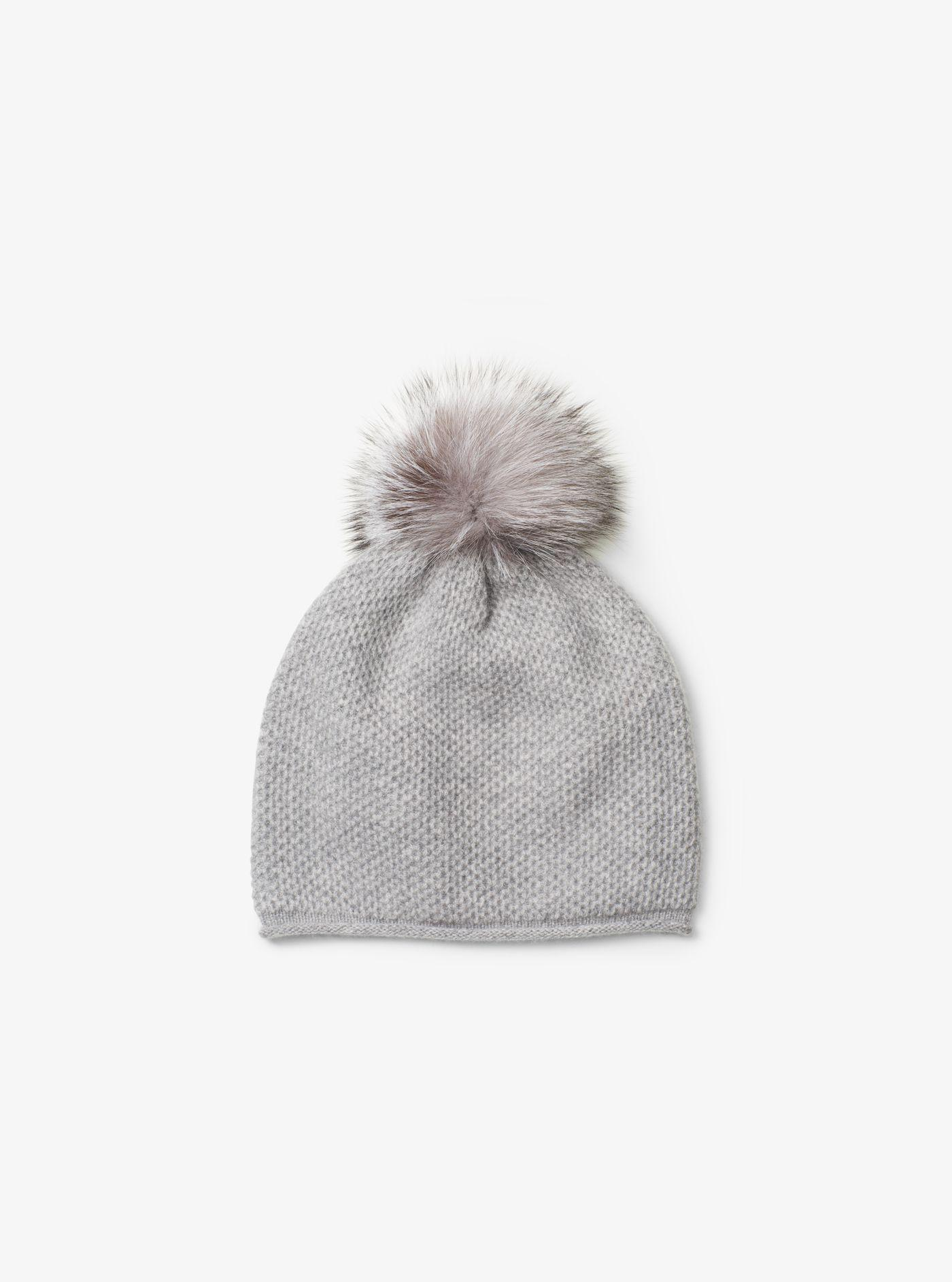 b12b8de2293 Lyst - Michael Kors Cashmere And Fur Pom-pom Beanie in Gray
