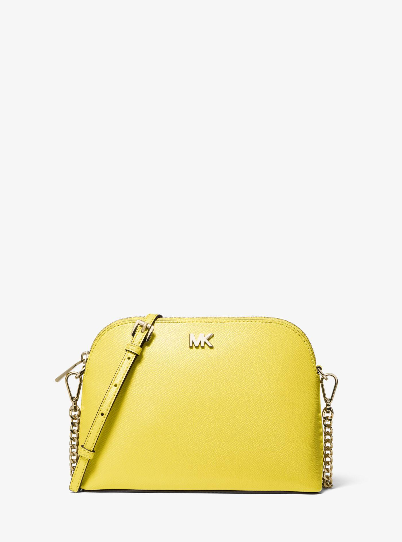 cf4b3a94b246 Lyst - Michael Kors Large Crossgrain Leather Dome Crossbody in Yellow