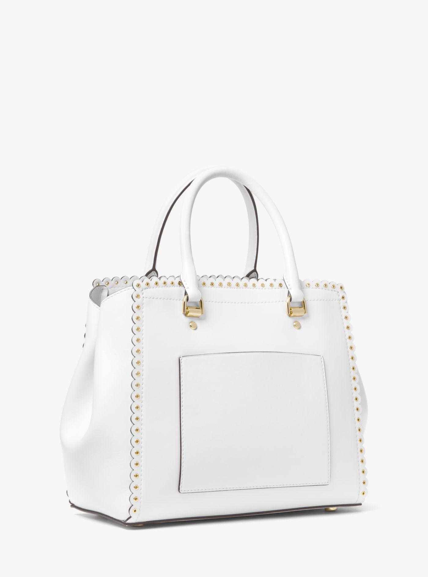 2a9b02234414 Lyst - Michael Kors Benning Large Scalloped Leather Satchel in White