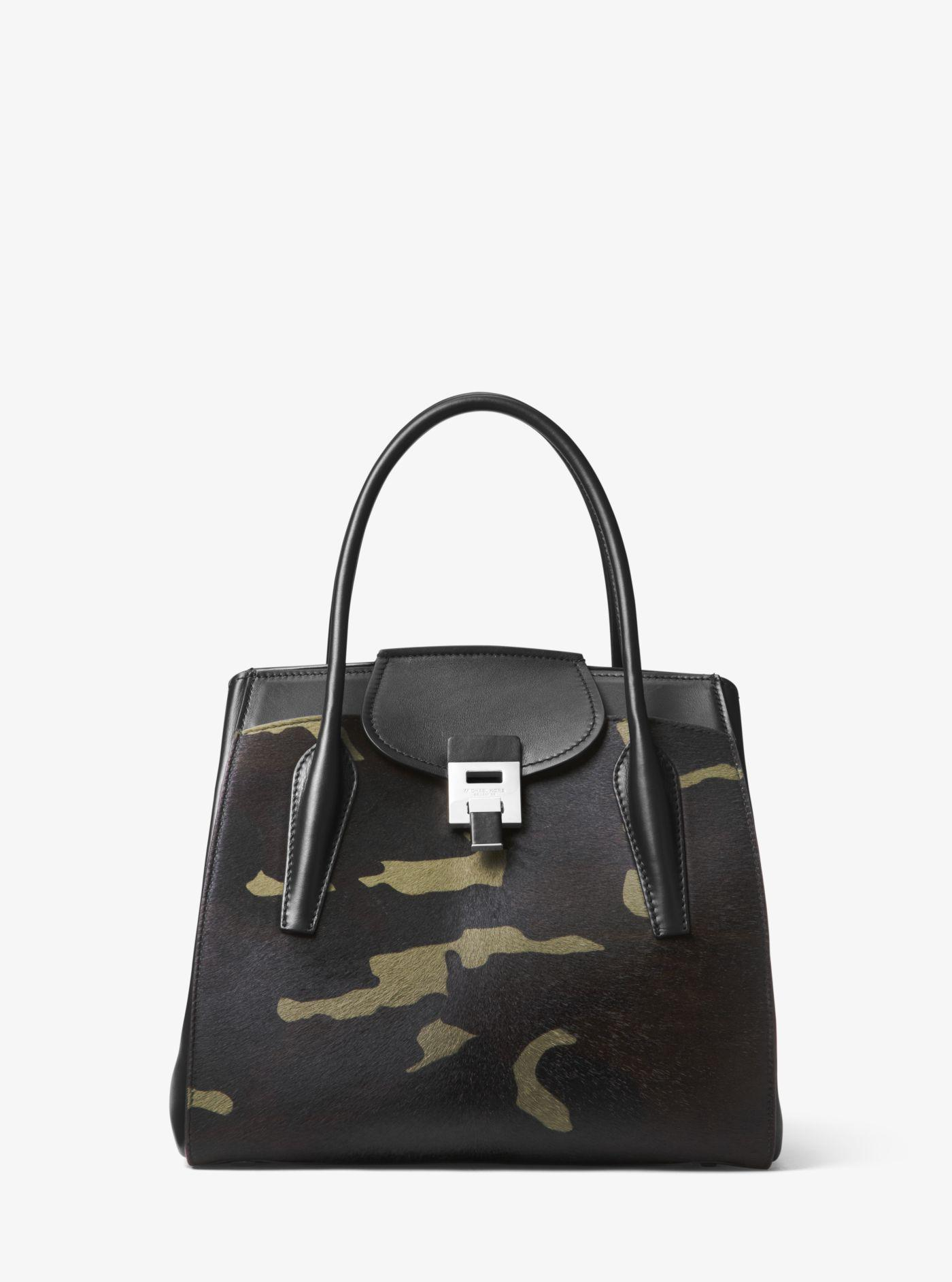 ac384d0a1ee1 Michael Kors Bancroft Large Camouflage Calf Hair Satchel in Green - Lyst