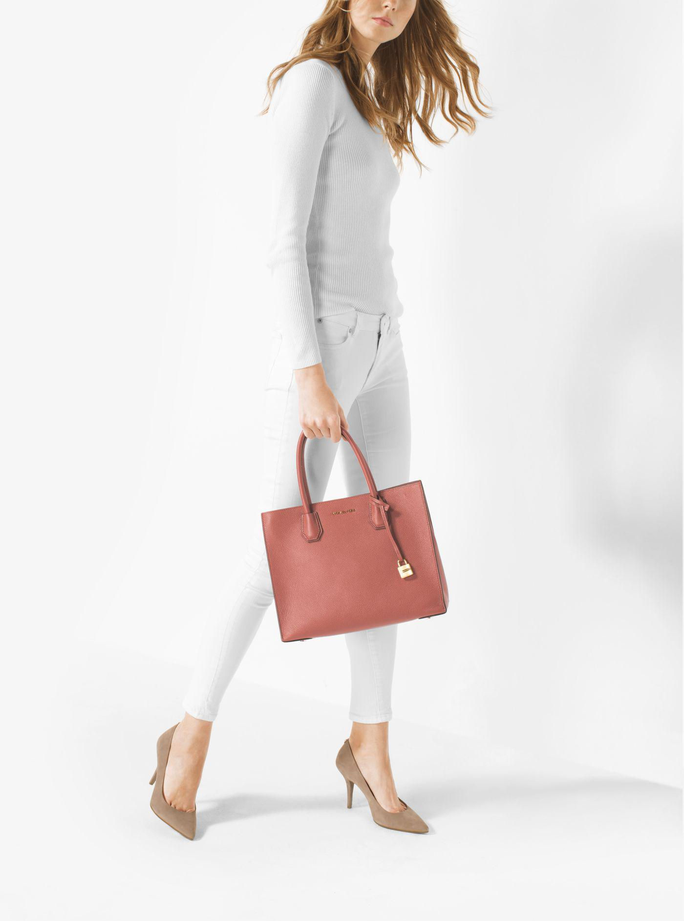 7bff25e5d Michael Kors Mercer Large Bonded-leather Tote in Pink - Lyst