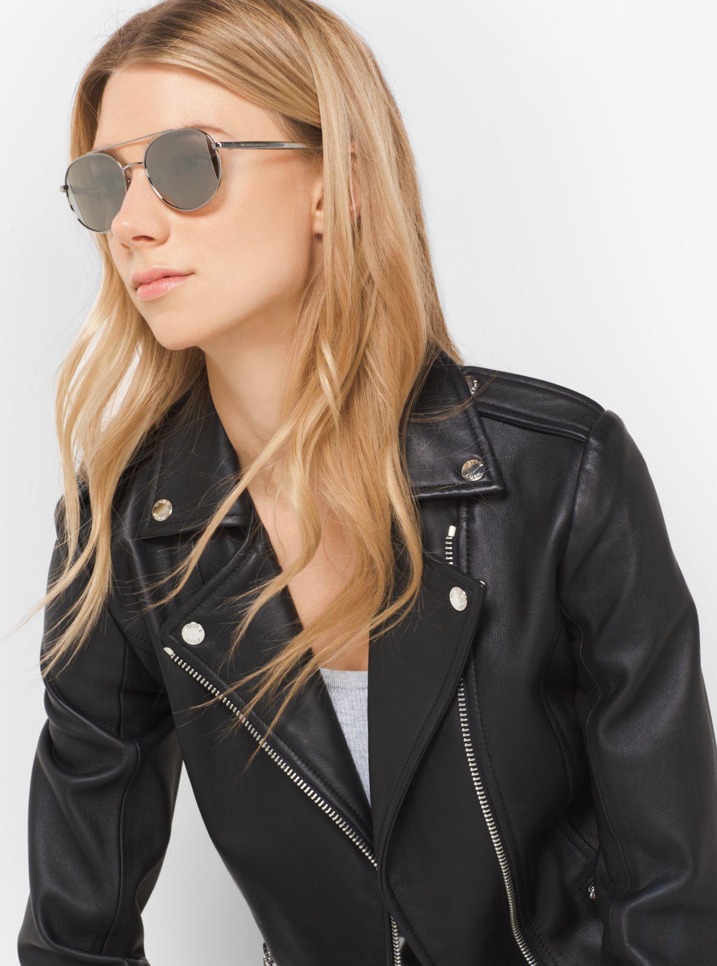 b878e5a4c Michael Kors Lon Rounded Aviator Sunglasses in Gray - Lyst