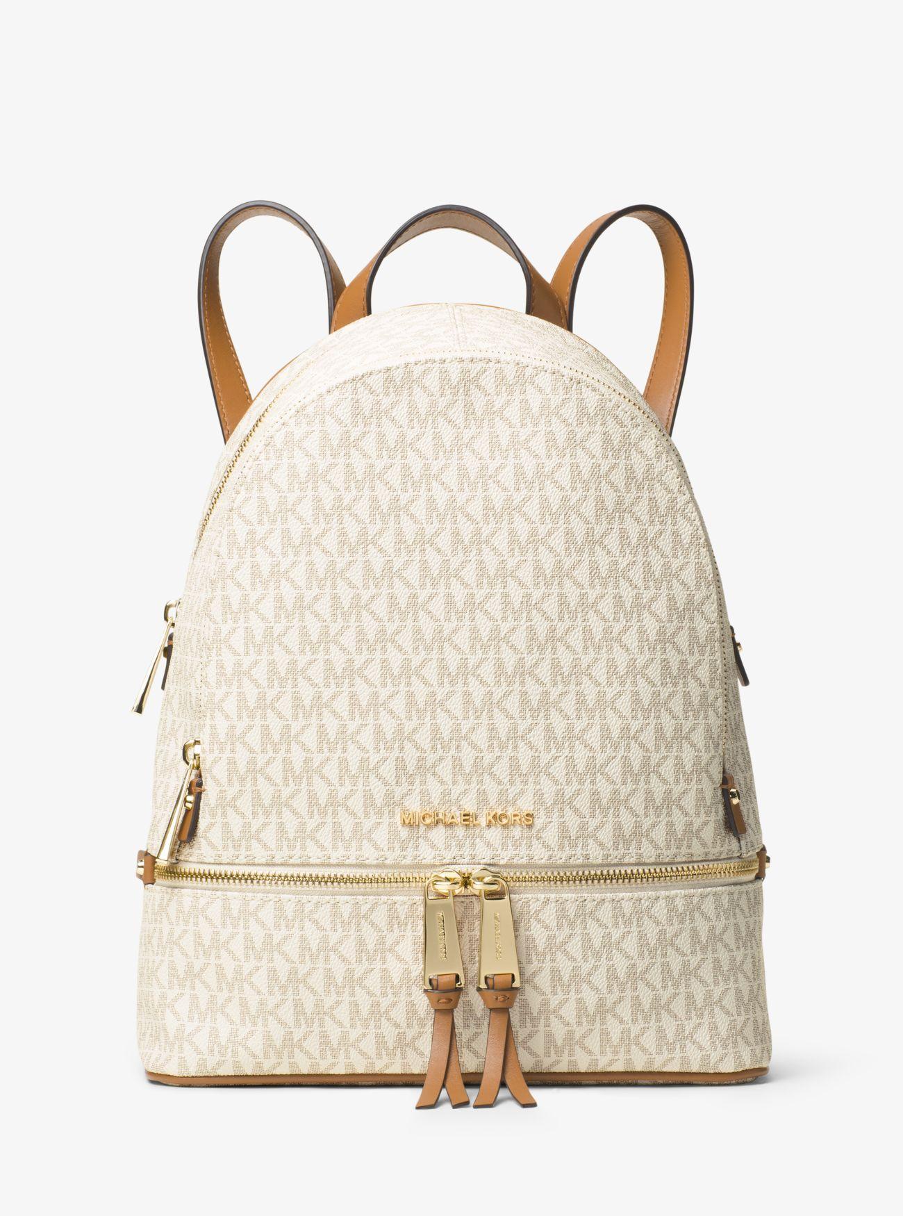 8693d2c88b Michael Kors Rhea Medium Logo Backpack in Natural - Save 36% - Lyst
