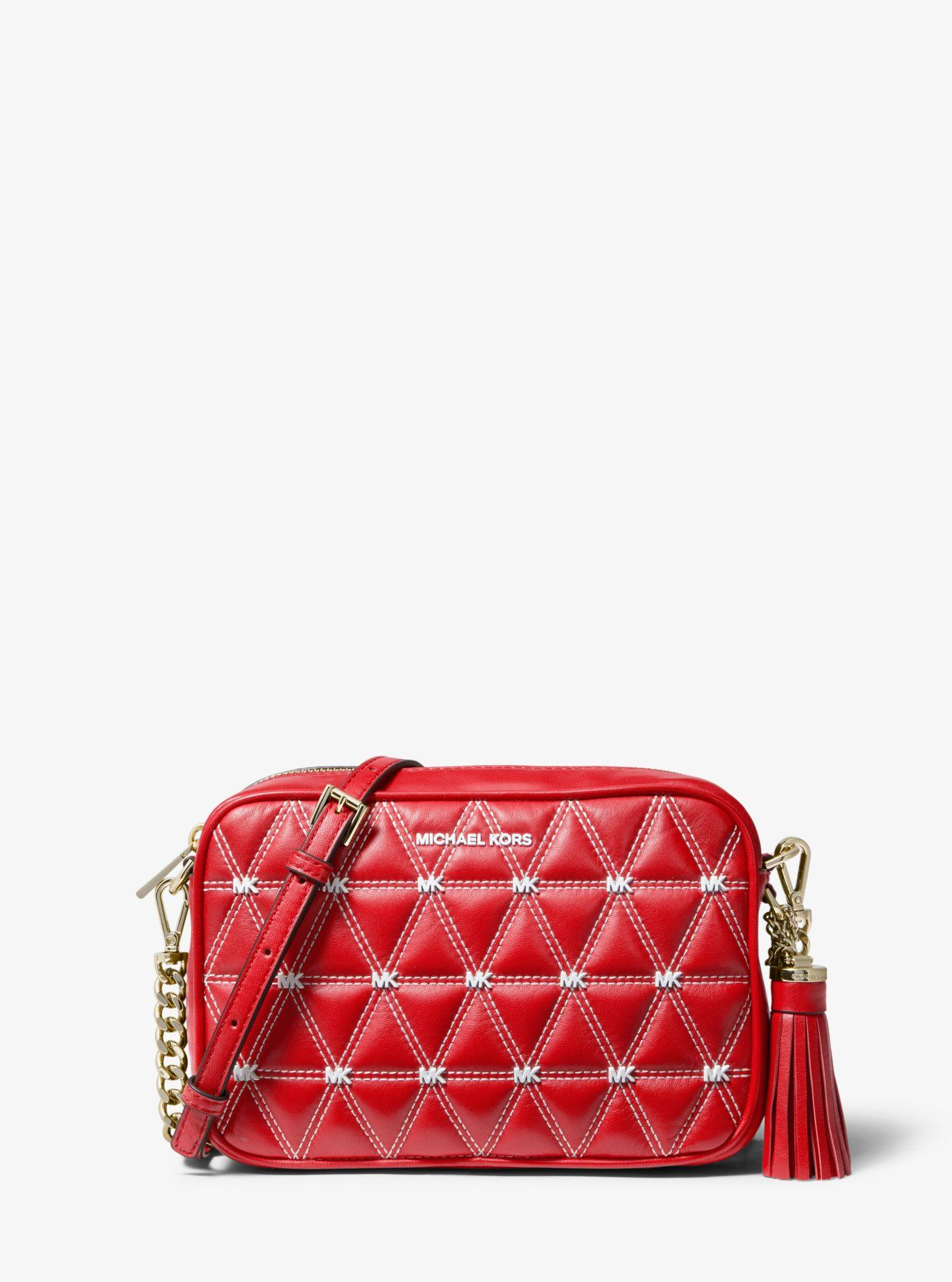 fb31a3ae7b24 Michael Kors - Red Ginny Medium Quilted Leather Crossbody - Lyst. View  fullscreen