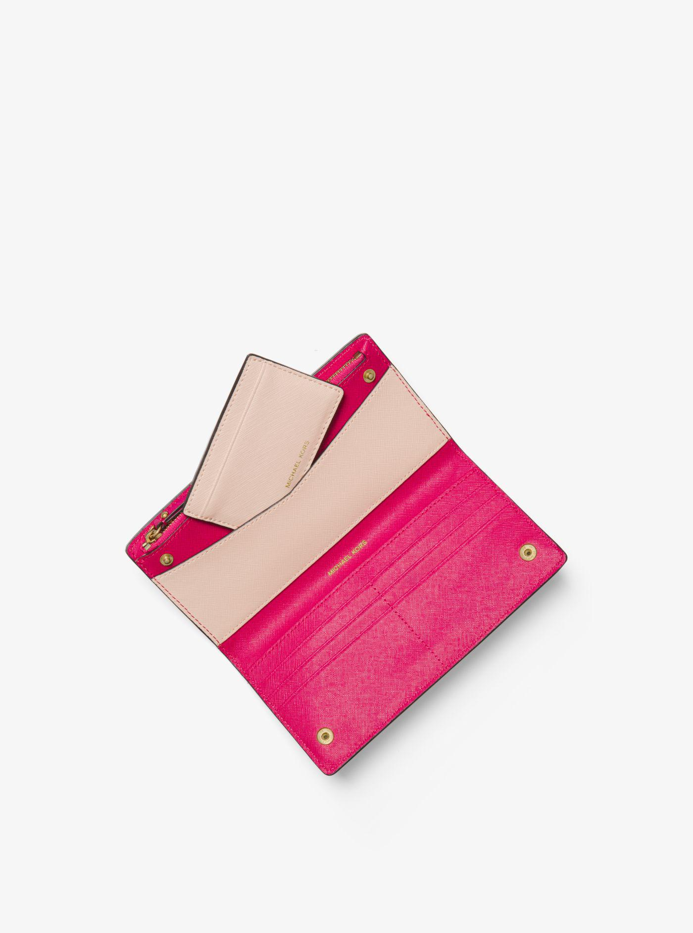 c9f87b3442b0 coupon code michael kors pink jet set saffiano leather slim wallet lyst.  view fullscreen ffc59