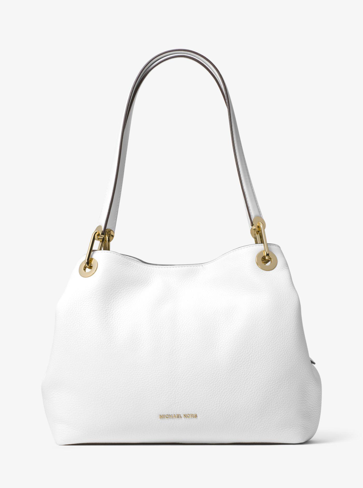 05dd780578c1 Lyst - Michael Kors Raven Large Leather Shoulder Bag in White