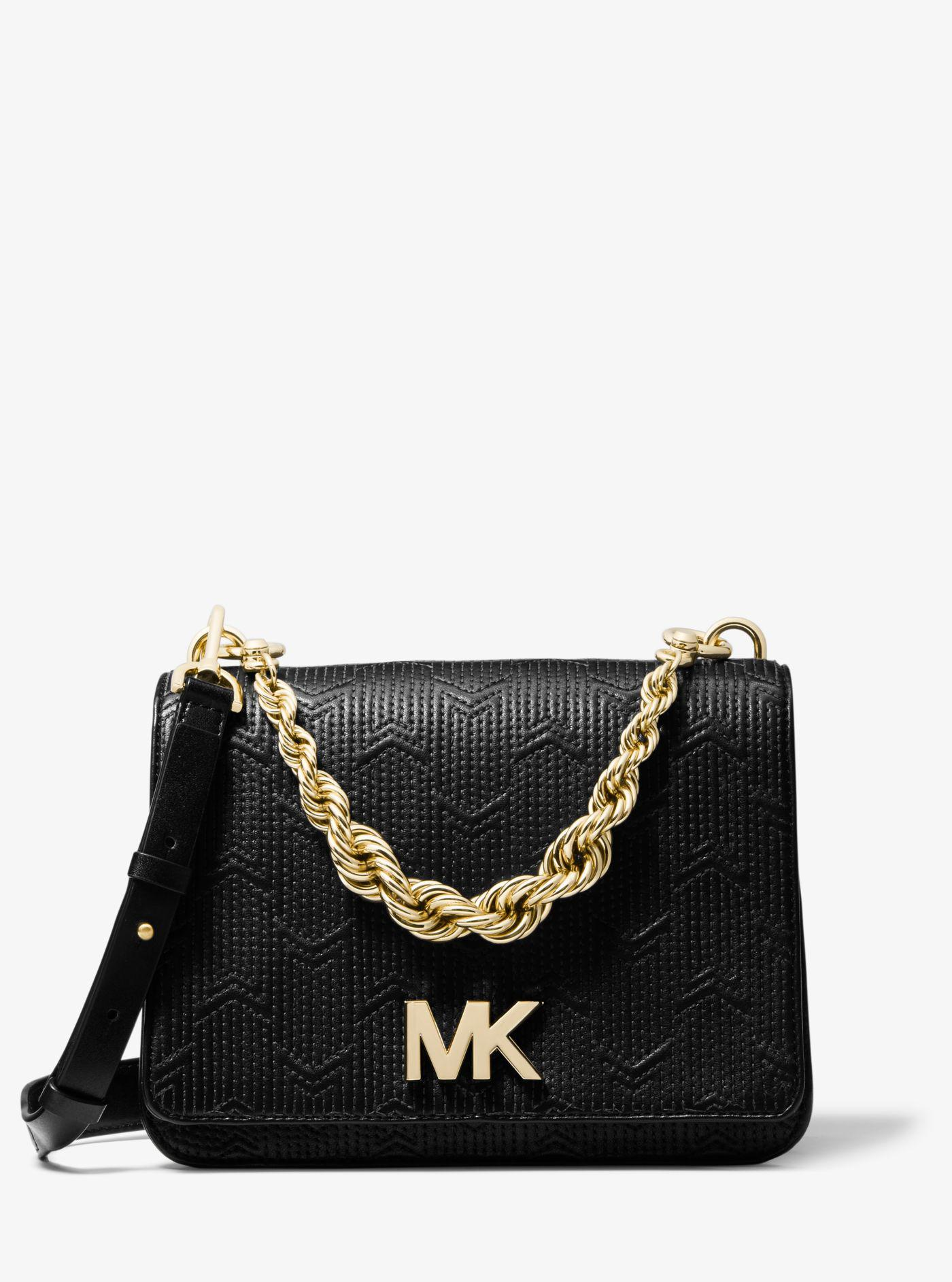 8edc613f49c1 Michael Kors Mott Large Deco Quilted Leather Crossbody in Black - Lyst