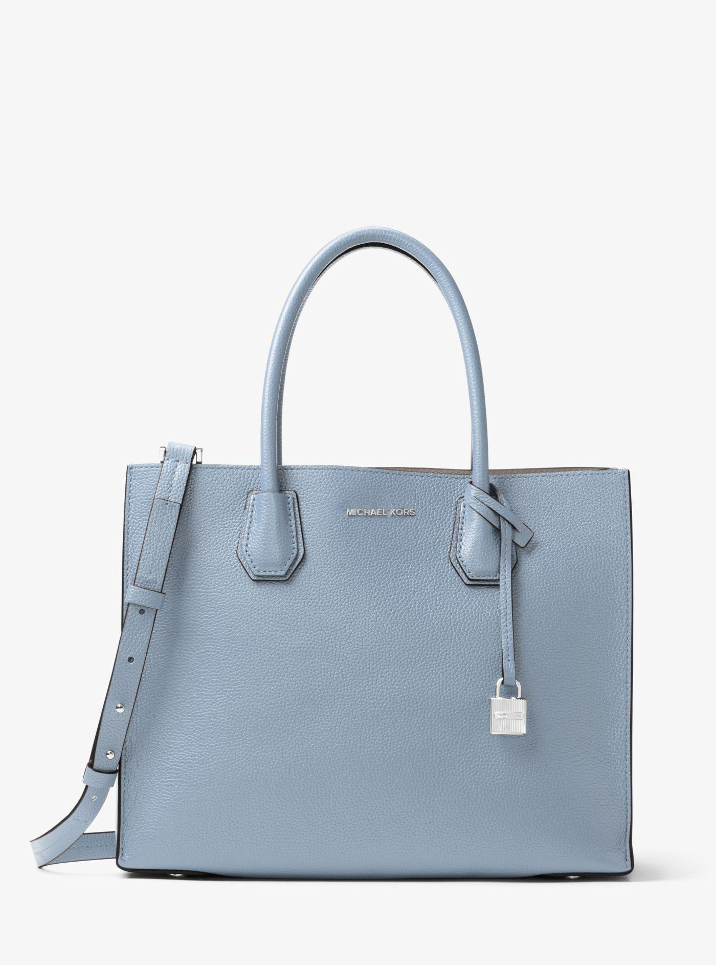 a07fb0c1b48dd Michael Kors Mercer Large Leather Tote in Blue - Lyst