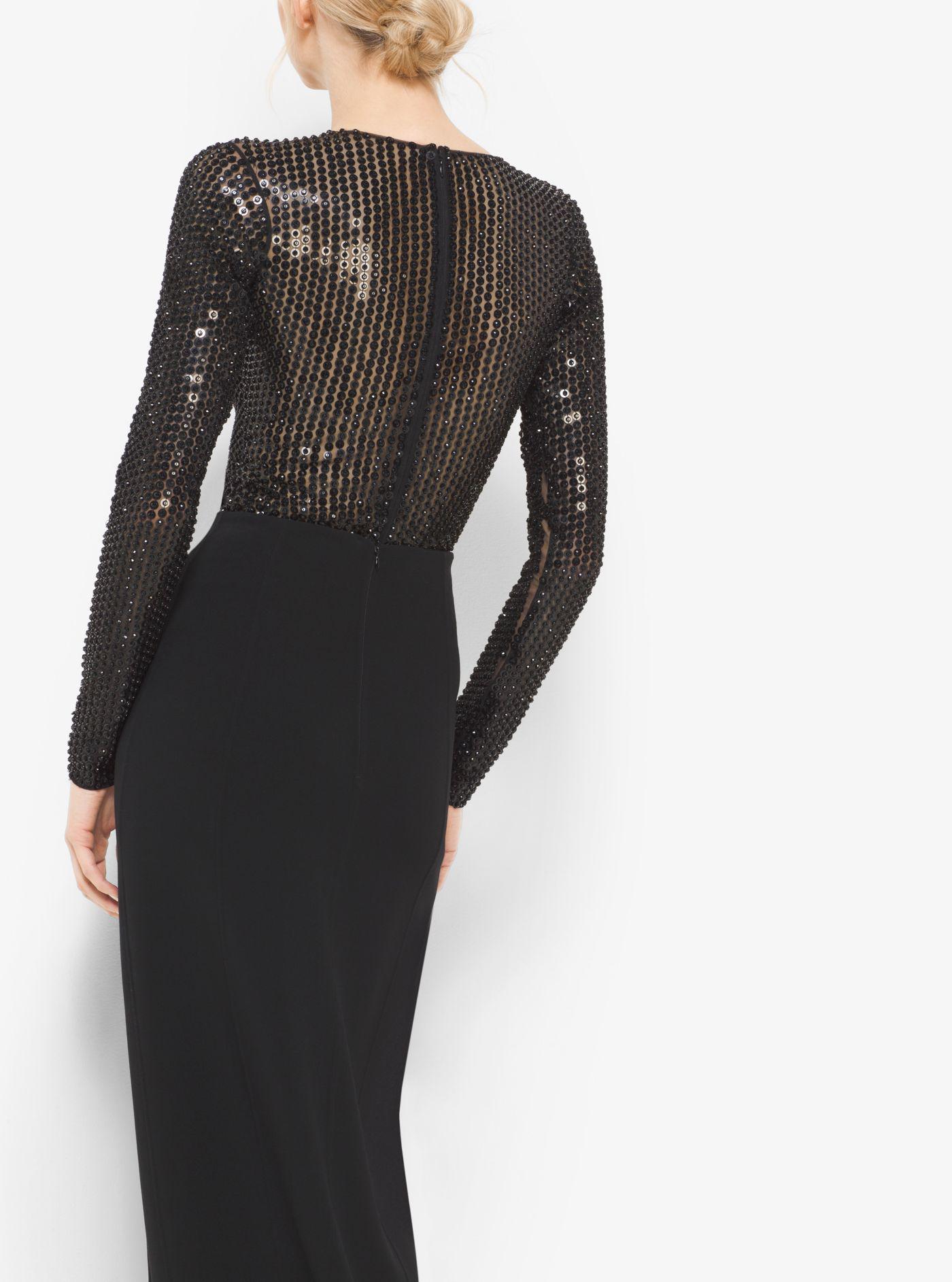 3665af468e Lyst - Michael Kors Sequin-embroidered Stretch-tulle Bodysuit in Black