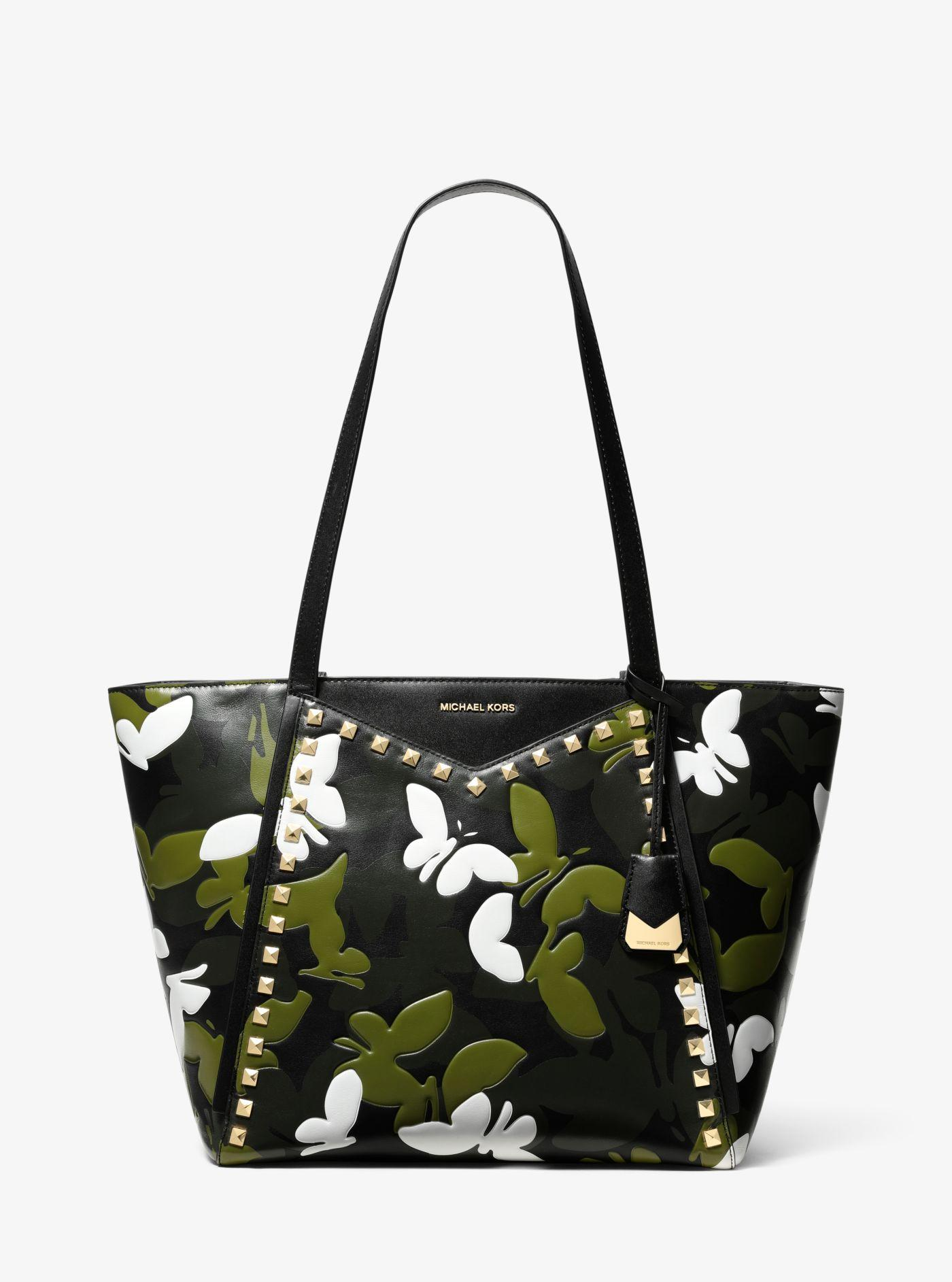 99f4795473c7 Michael Kors - Black Whitney Large Butterfly Camo Leather Tote - Lyst. View  fullscreen
