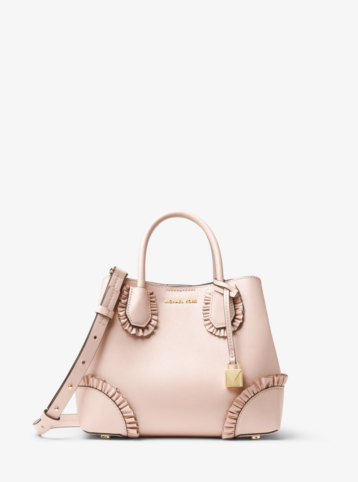 Mercer Gallery Small Center Zip Satchel Bag in Ultra Pink Polisher Leather Michael Michael Kors B3ginD