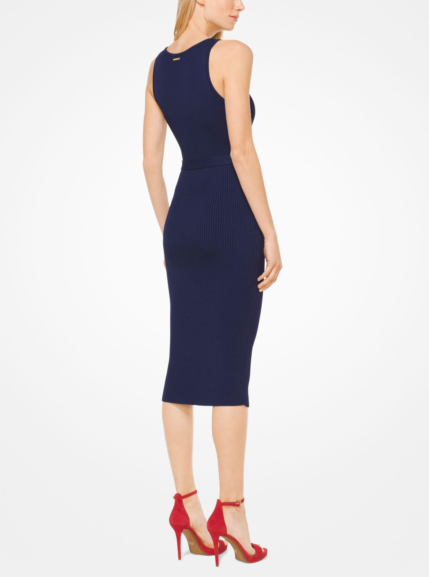 7c8bc6f2cfe Michael Kors Belted Ribbed Knit Dress in Blue - Lyst