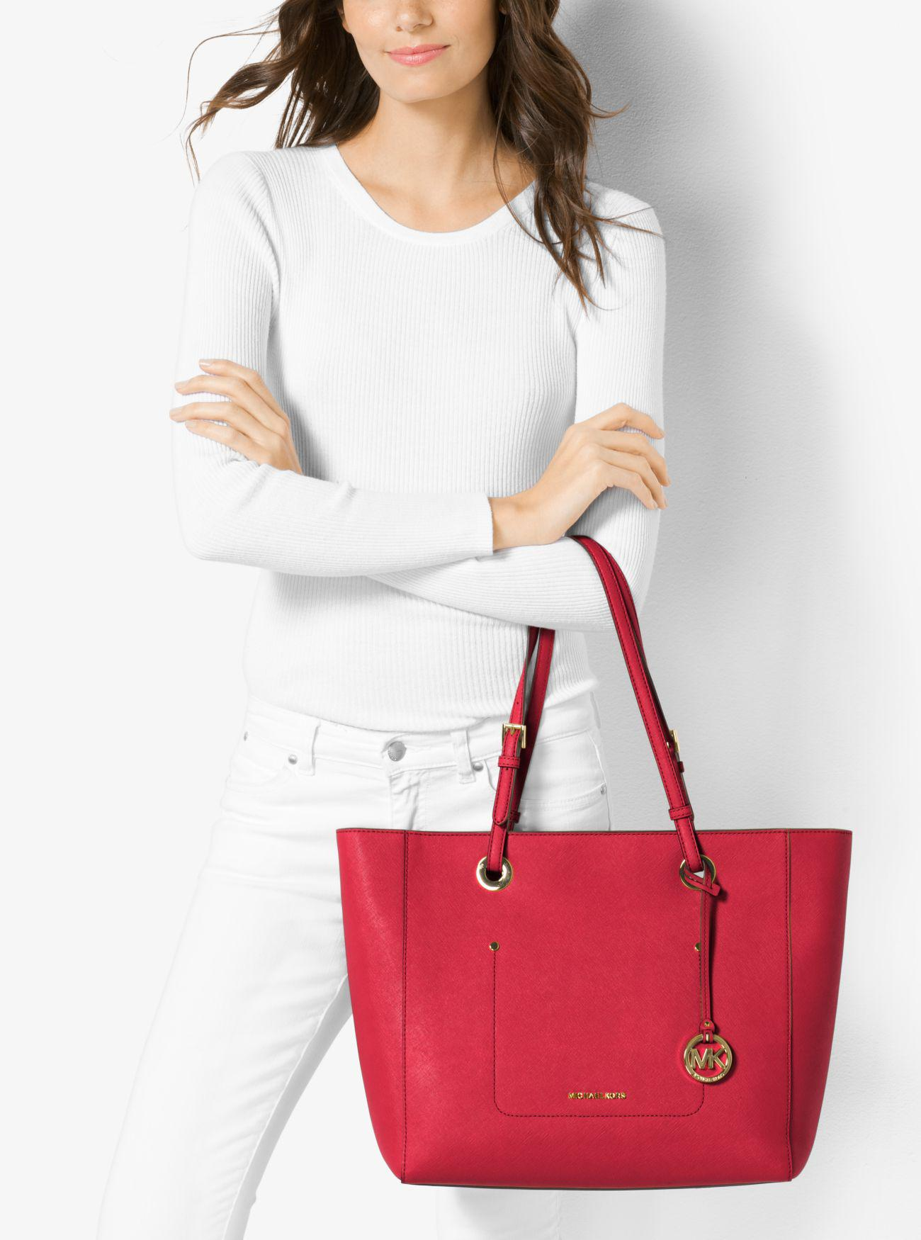 6b14d6100e6f57 Michael Kors Walsh Large Saffiano Leather Tote Bag in Red - Lyst