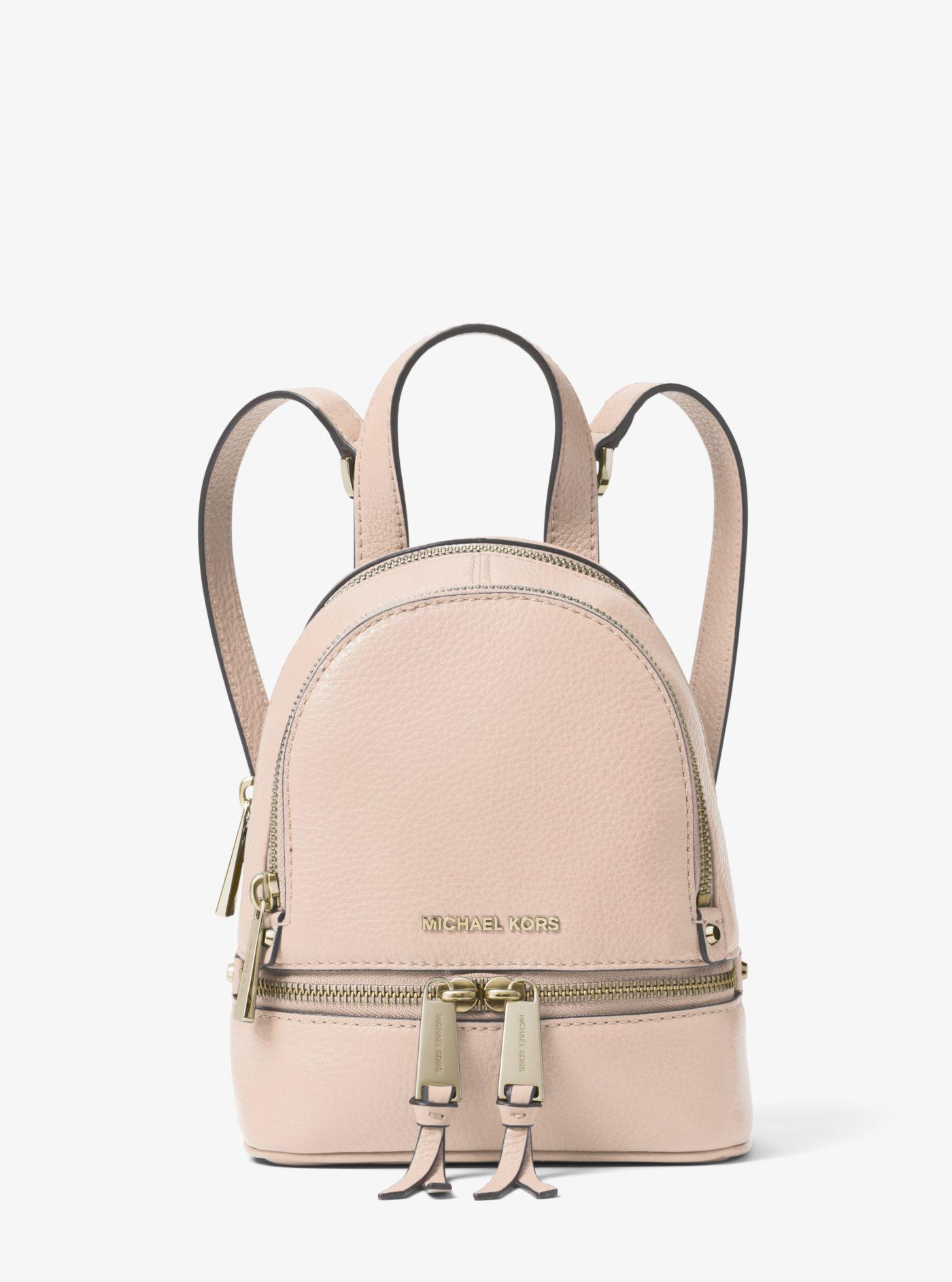 Michael Kors - Pink Rhea Mini Leather Backpack - Lyst. View fullscreen 201421f464