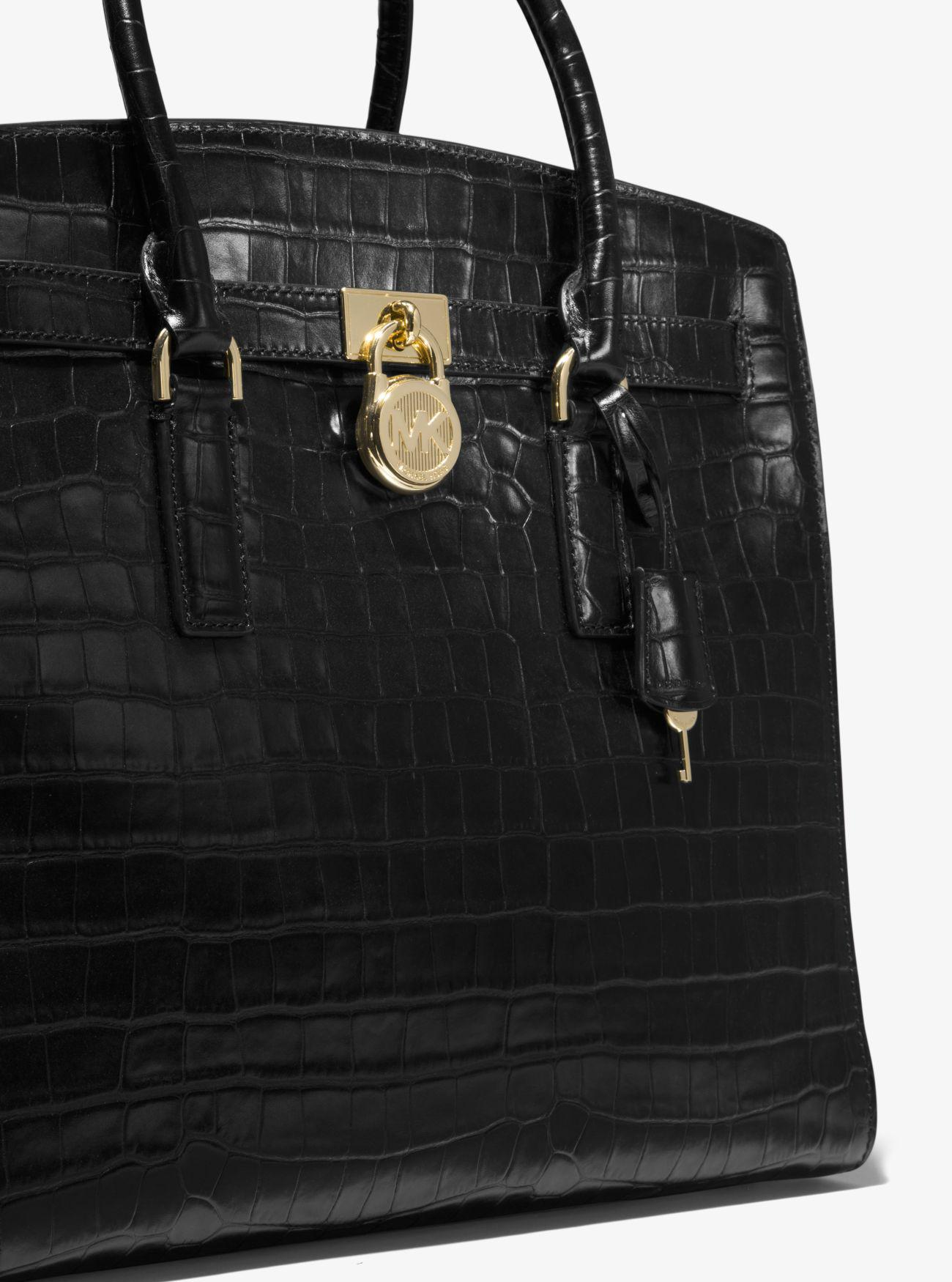 2e538be30495 ... low price lyst michael kors hamilton embossed leather weekender in  black acc63 36ac8 ...