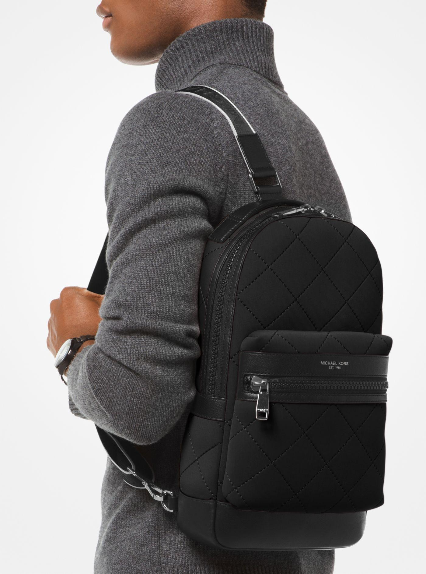 8513a143a33d Michael Kors Odin Large Quilted Neoprene Sling Pack in Black for Men ...