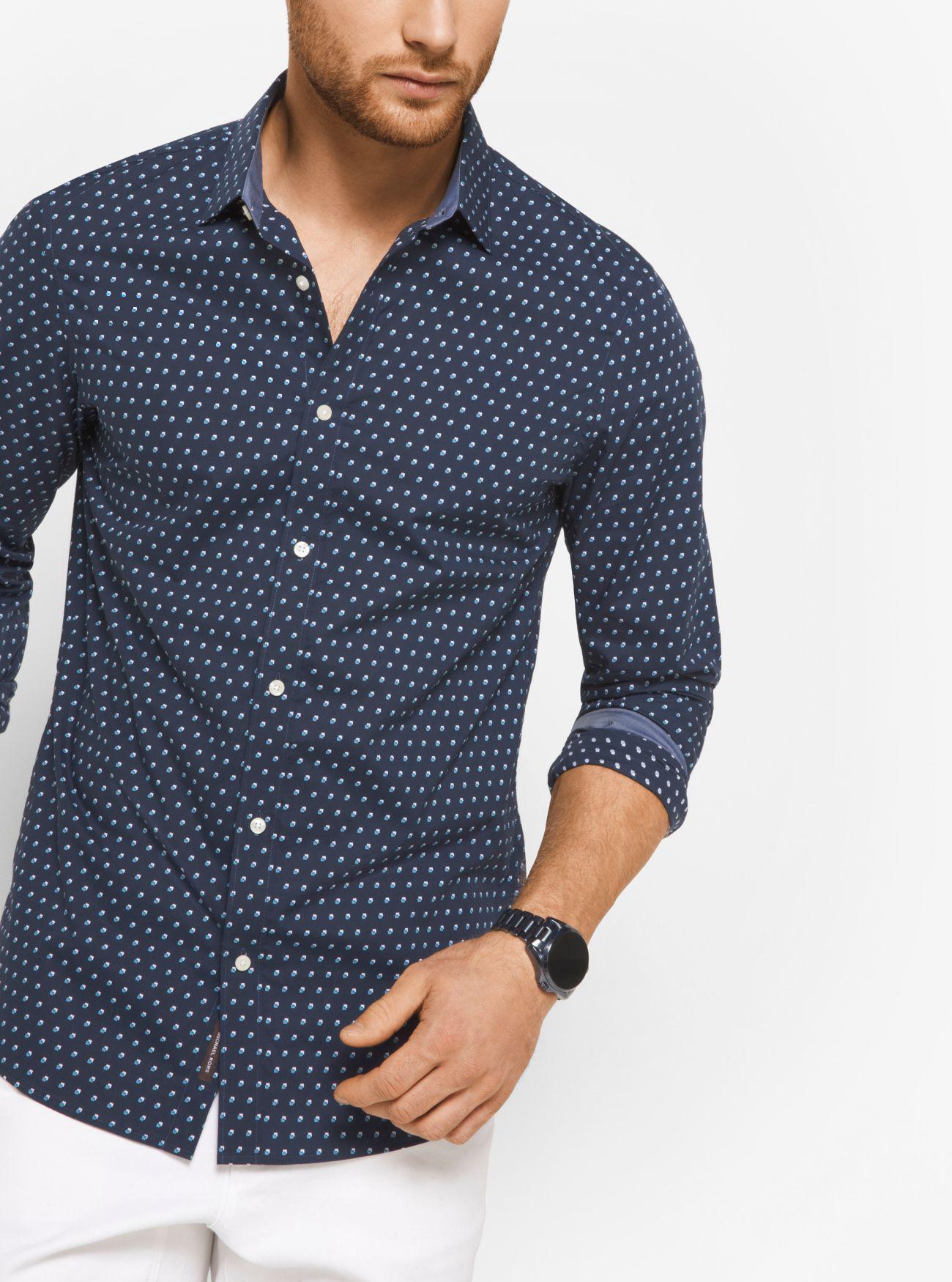 c4edc0273871 Lyst - Michael Kors Slim-fit Cotton Shirt in Blue for Men