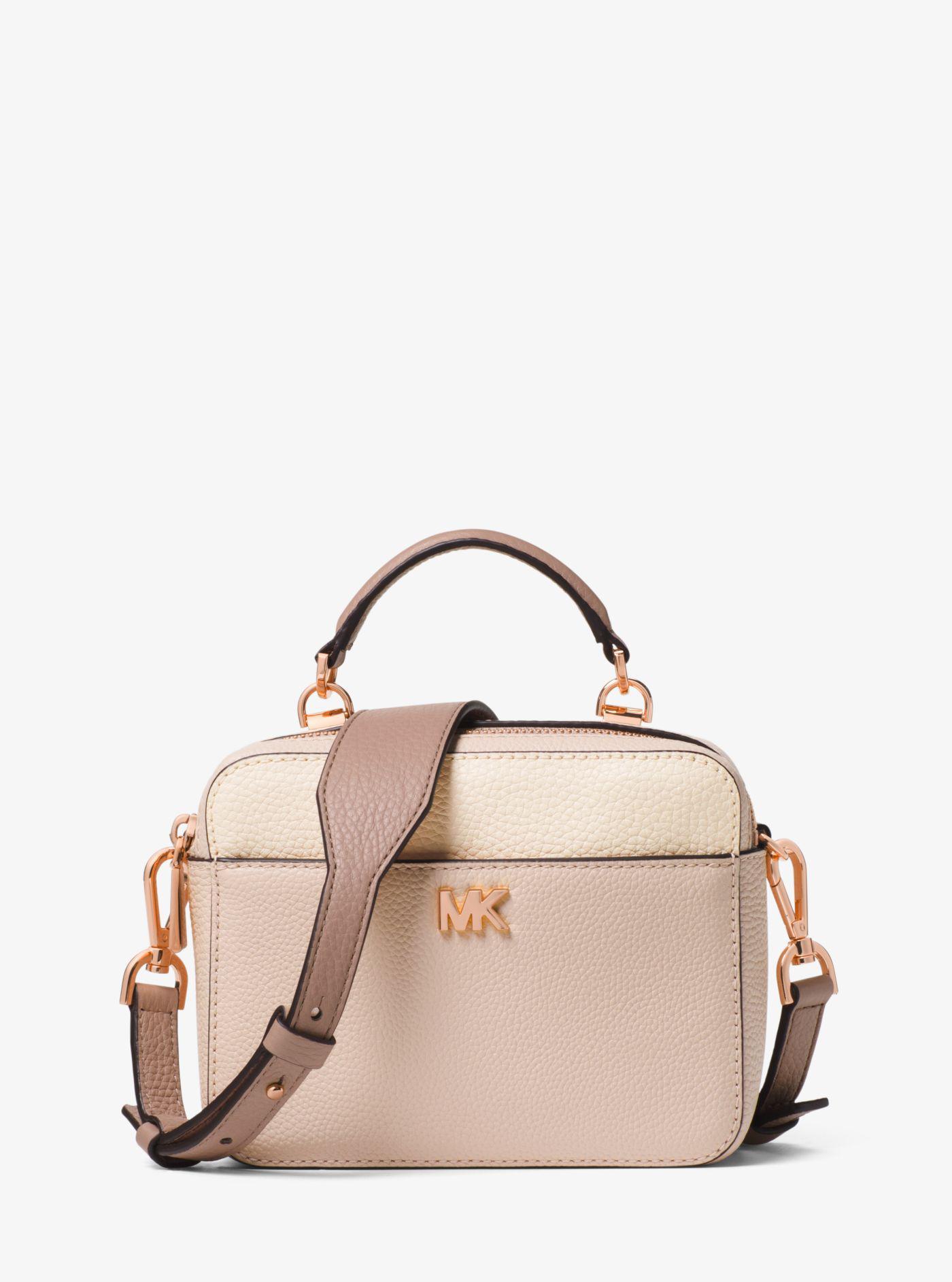 a26c037798b323 Michael Kors Mott Mini Color-block Pebbled Leather Crossbody - Lyst