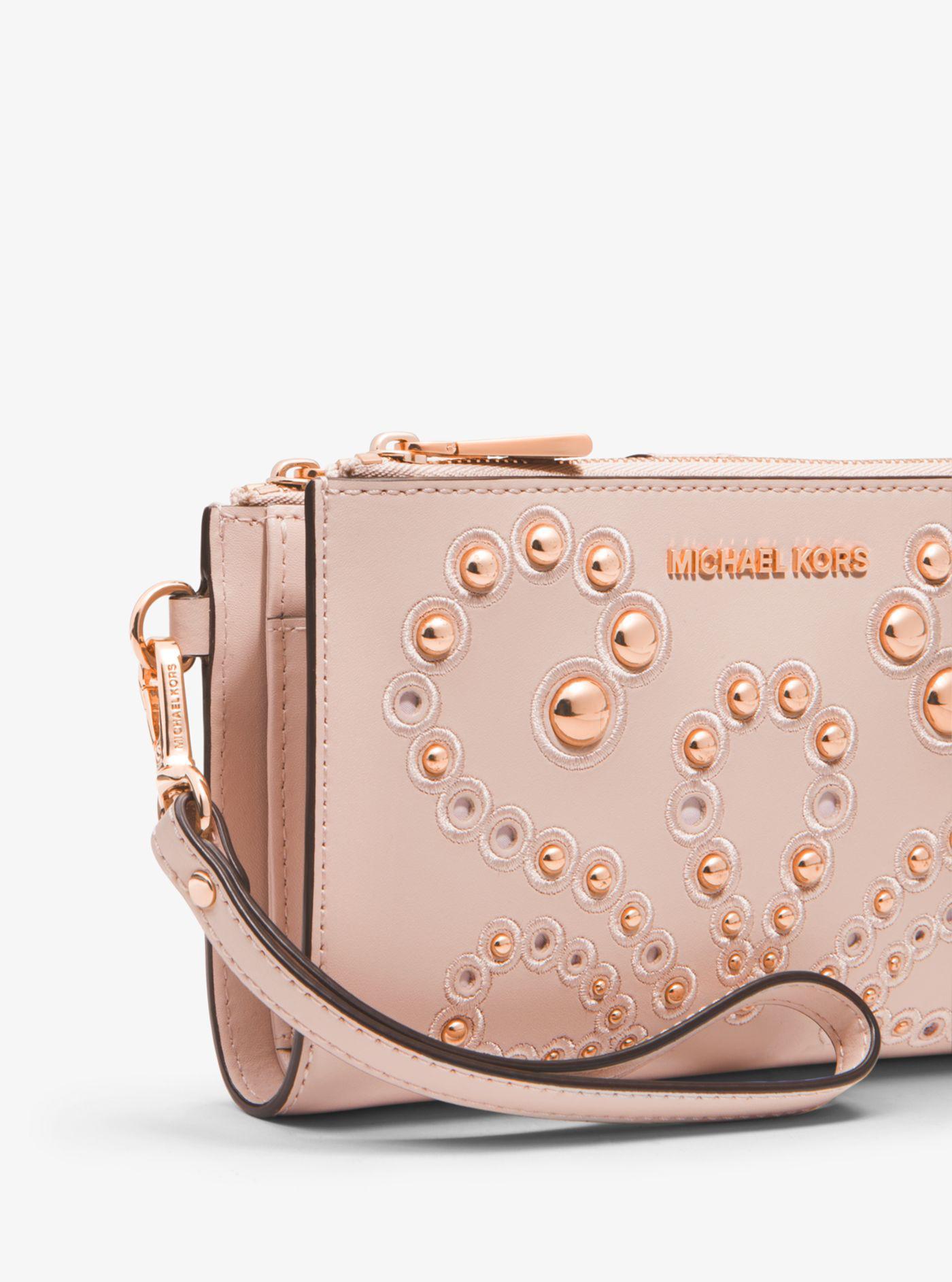192d0f262fe1 Michael Kors Adele Embellished Leather Smartphone Wallet in Pink - Lyst