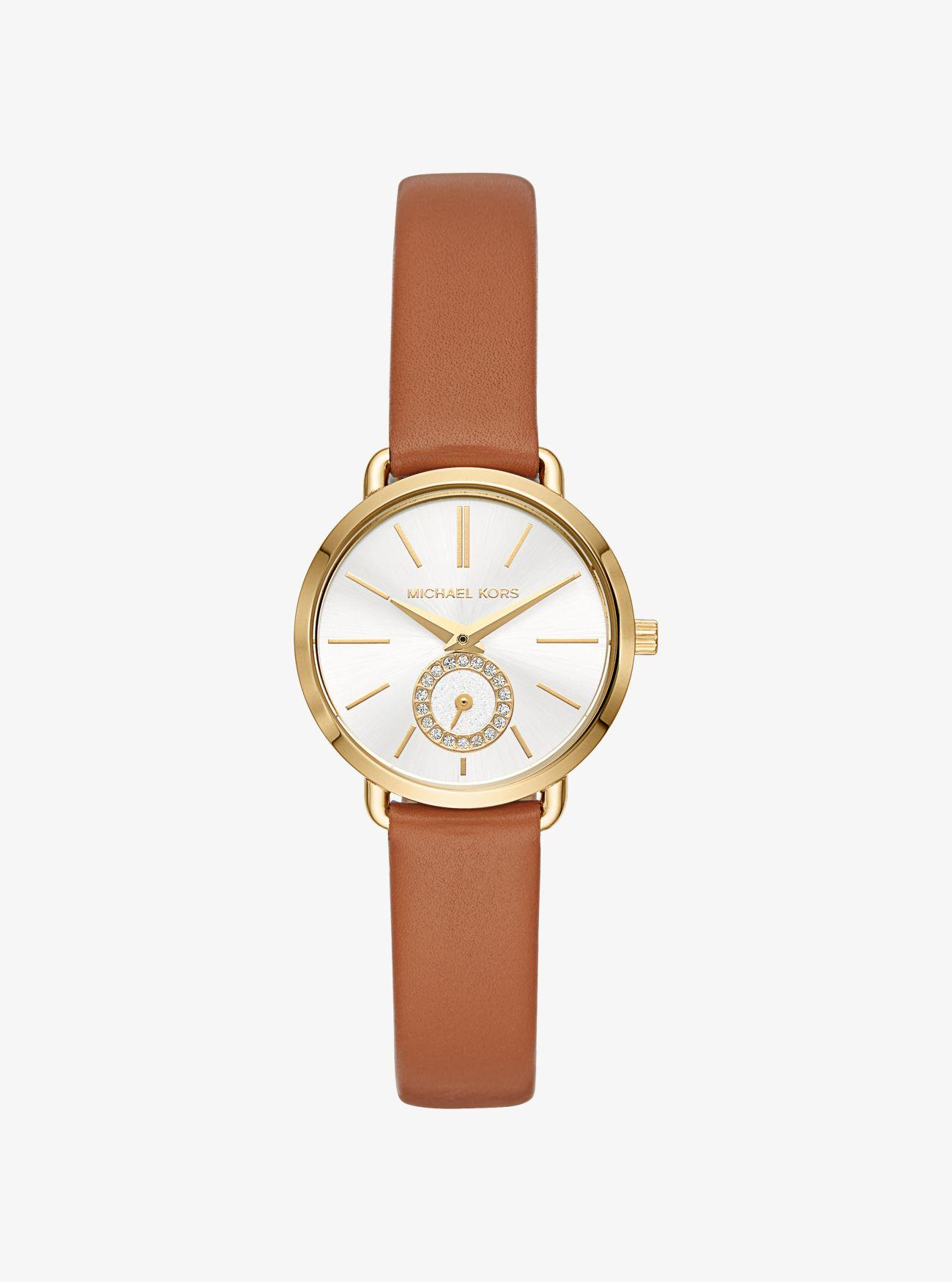 7a55be85a927 Michael Kors - Metallic Petite Portia Gold-tone Leather Watch - Lyst. View  fullscreen