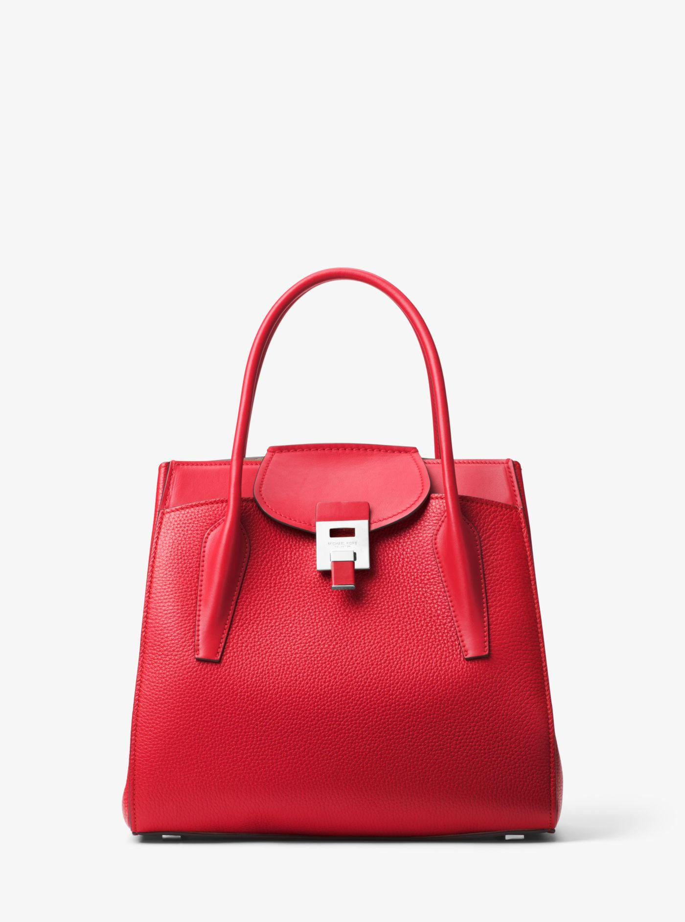 4e8c7a3bfb1d Lyst - Michael Kors Bancroft Large Pebbled Calf Leather Satchel in Red