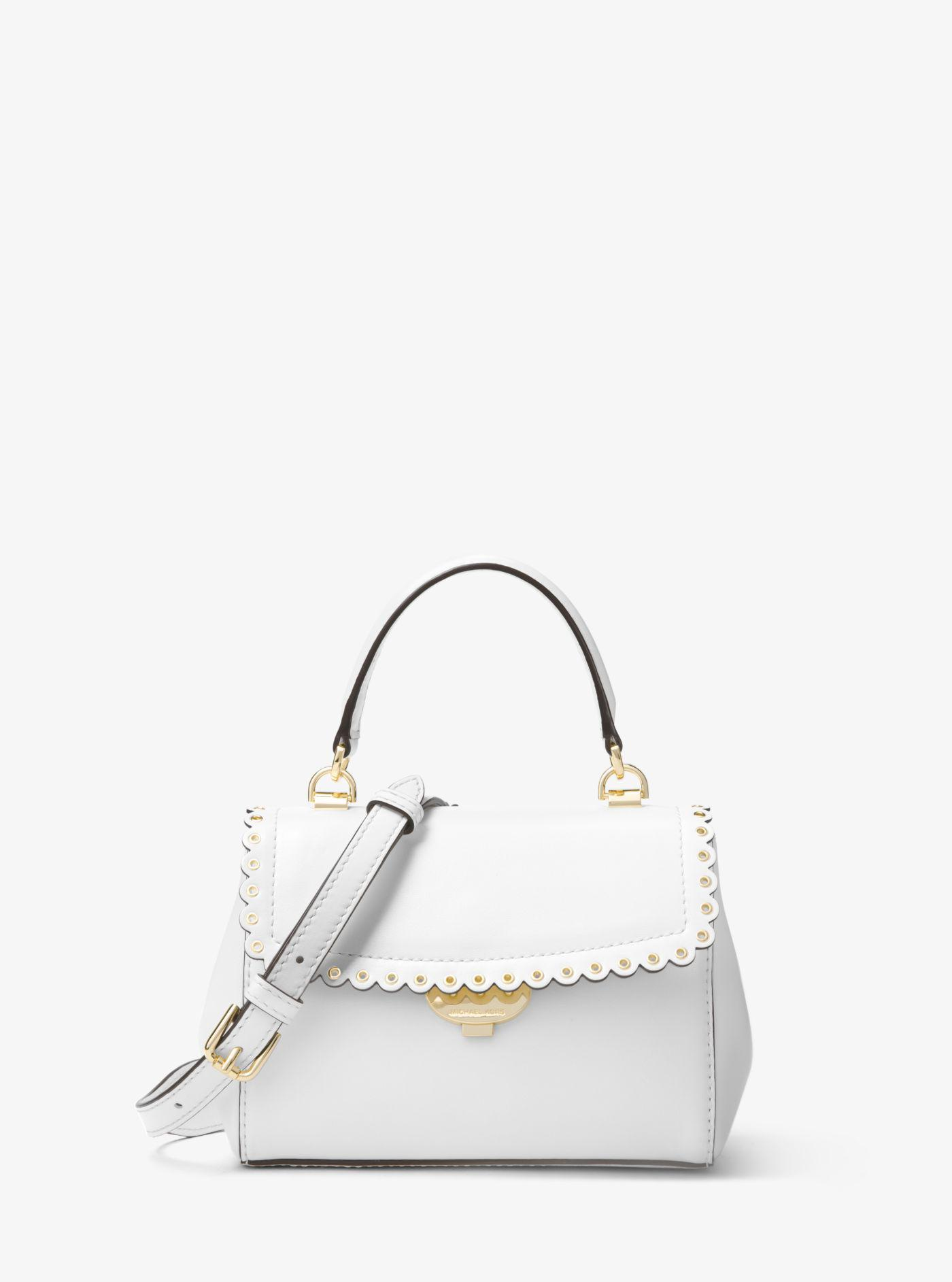 6b45b4ef056217 Michael Kors Ava Extra-small Scalloped Leather Crossbody in White - Lyst