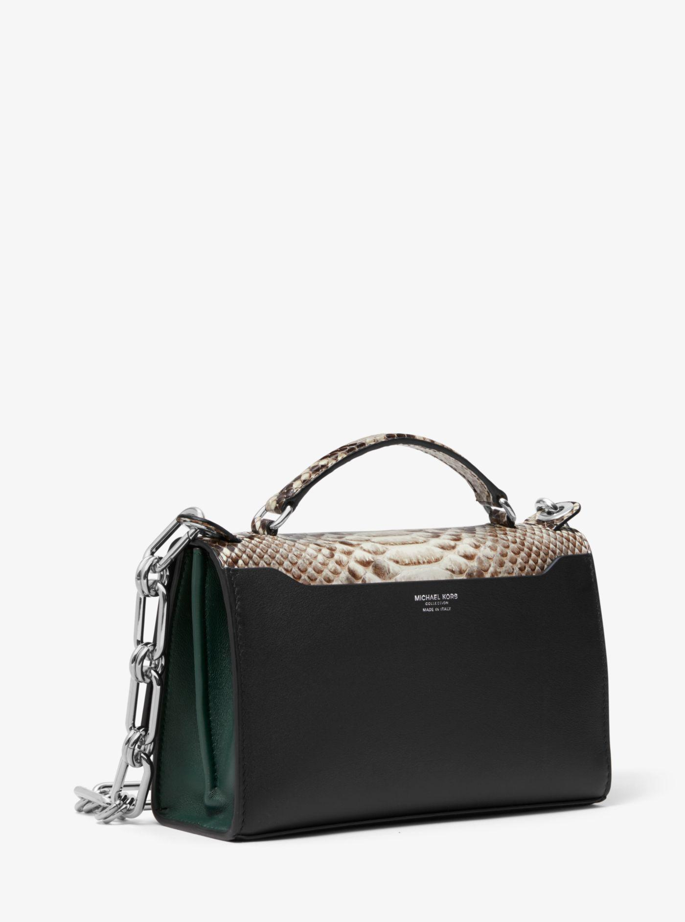 d793cfd67549 Lyst - Michael Kors Bancroft Python And Calf Leather Shoulder Bag in ...