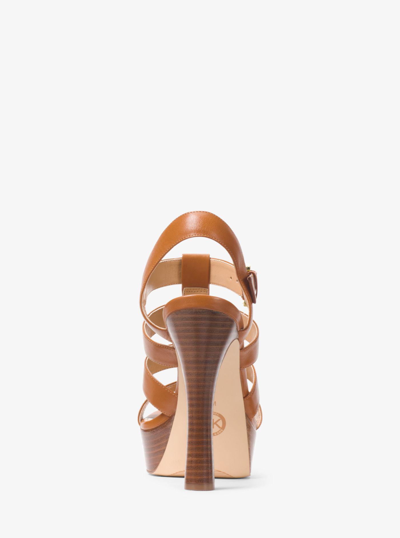 b8249589bdfb Lyst - Michael Kors Inez Leather Platform Sandal in Brown
