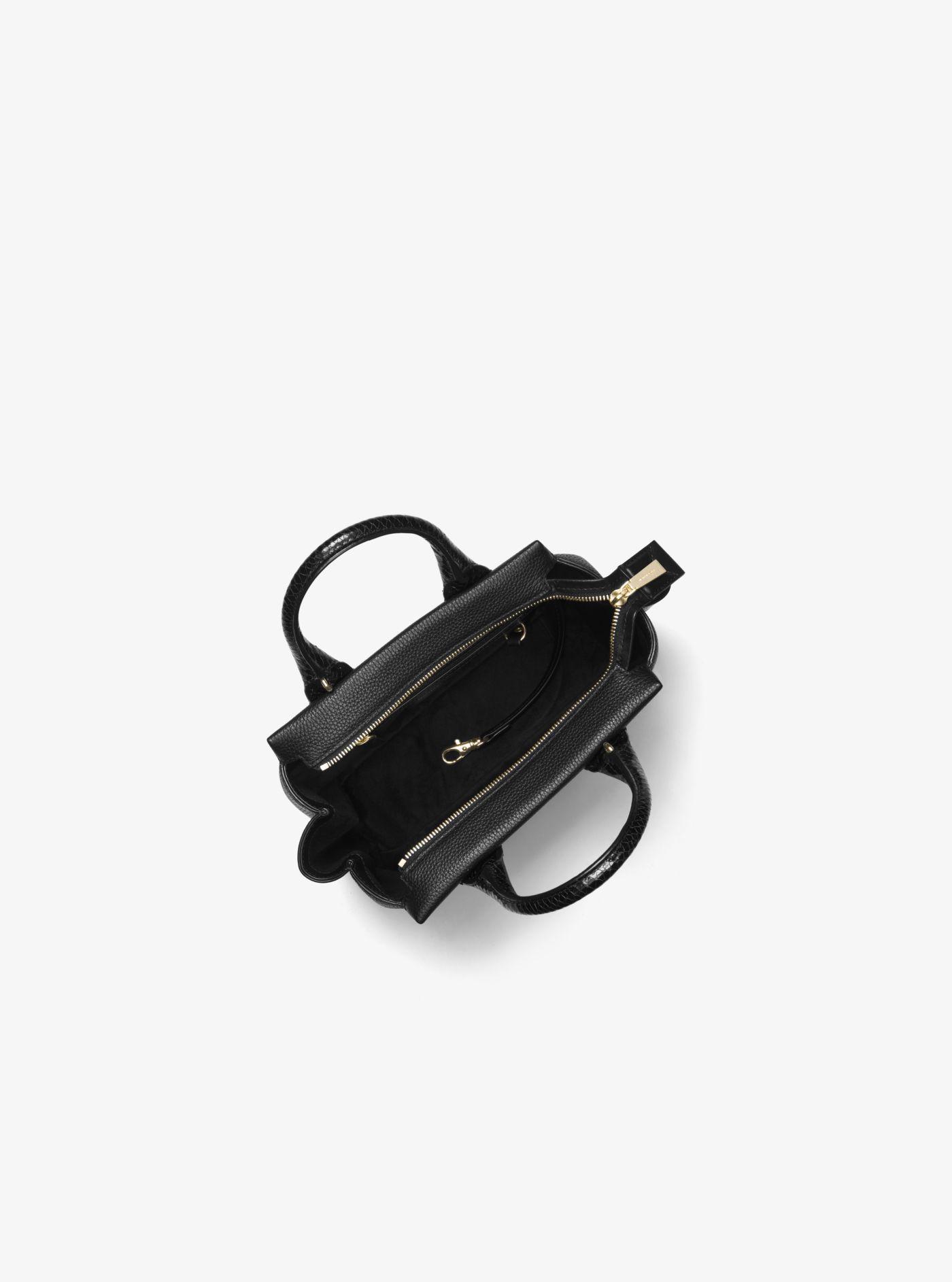 166286898155c ... germany michael kors black rollins small snake embossed leather satchel  lyst. view fullscreen a1d9b 171f3