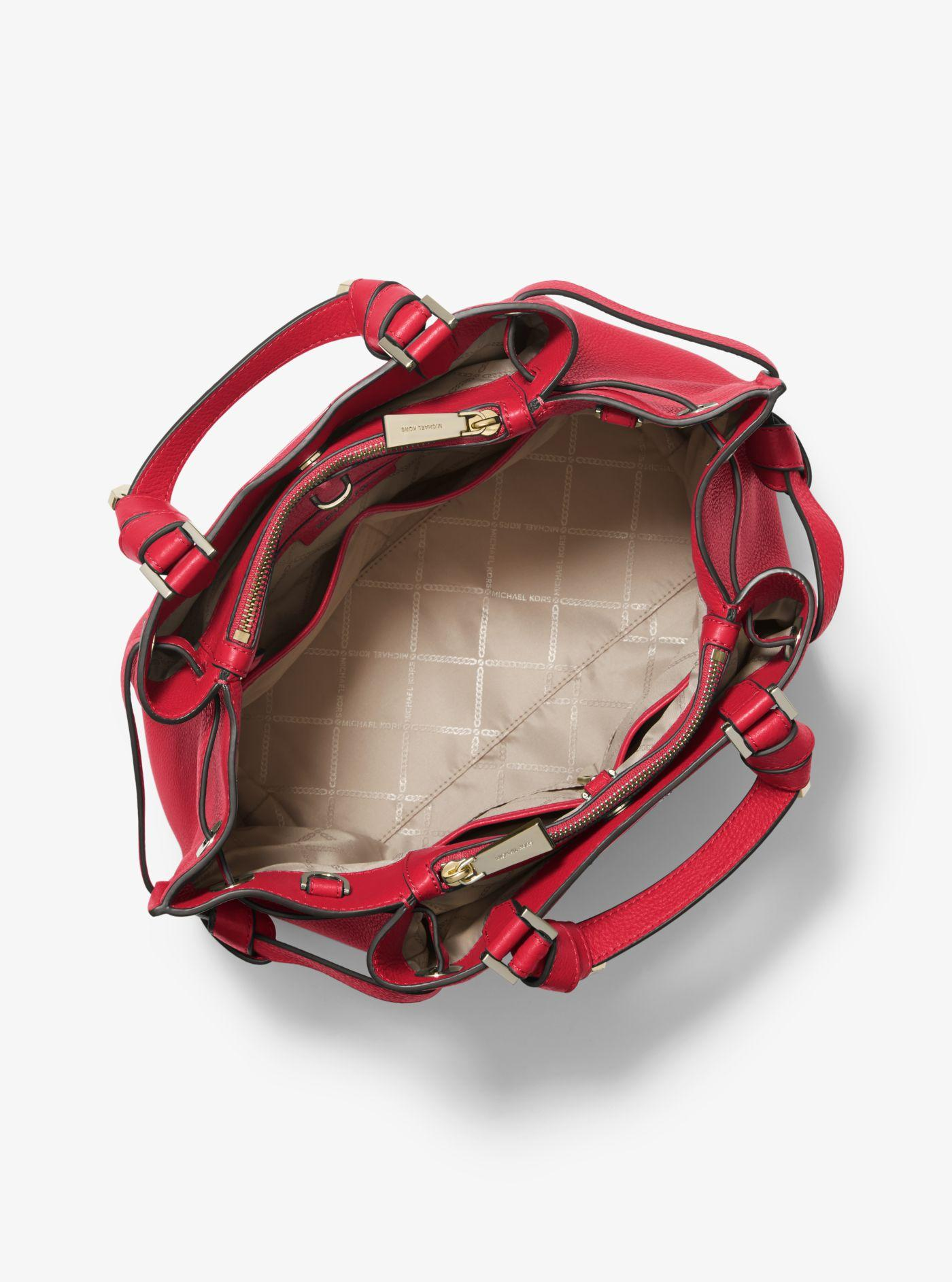 4c2df33ebe Michael Kors - Red Greta Large Pebbled Leather Satchel - Lyst. View  fullscreen