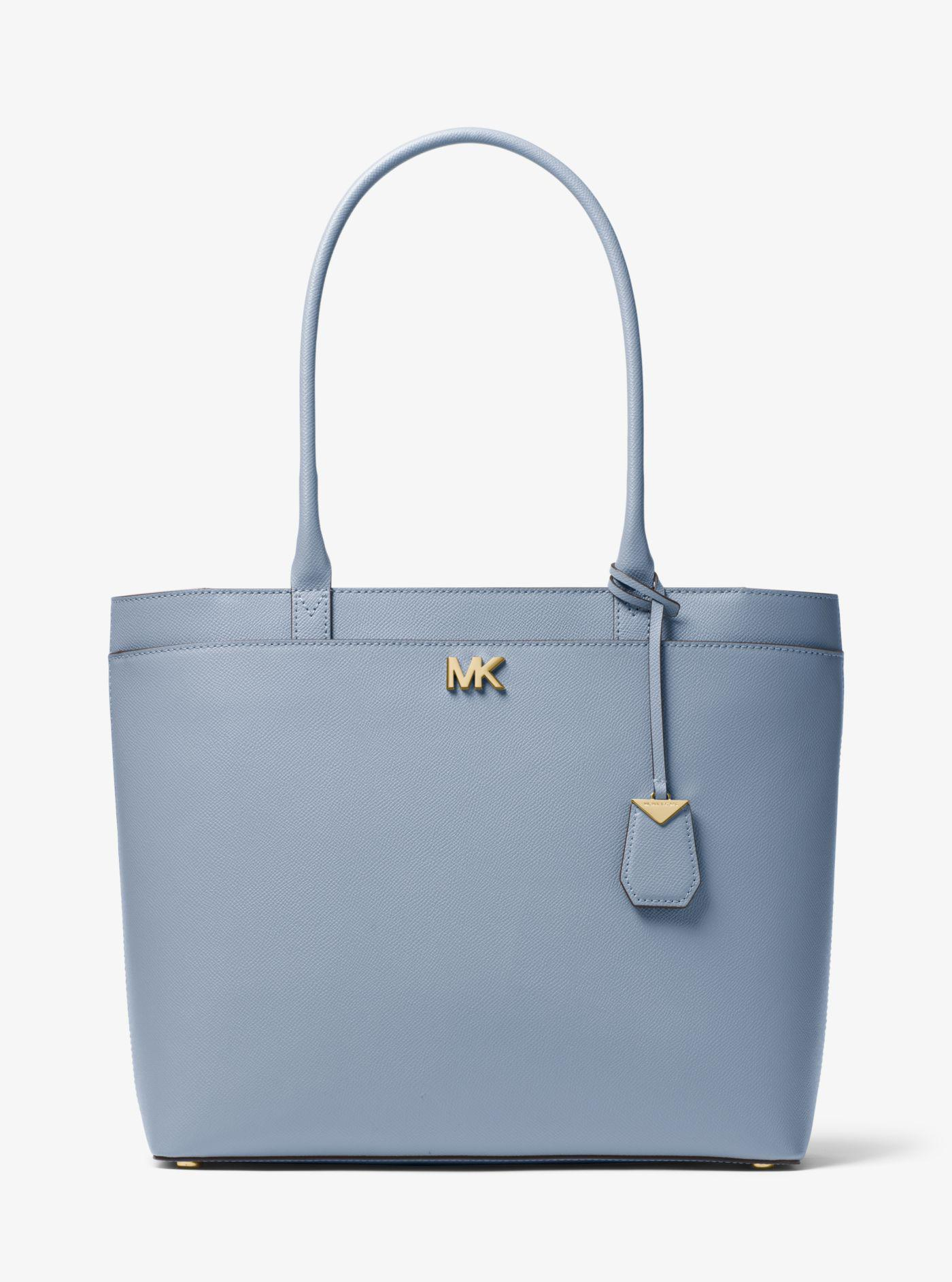 d60c0635f034 Lyst - Michael Kors Maddie Large Crossgrain Leather Tote in Blue