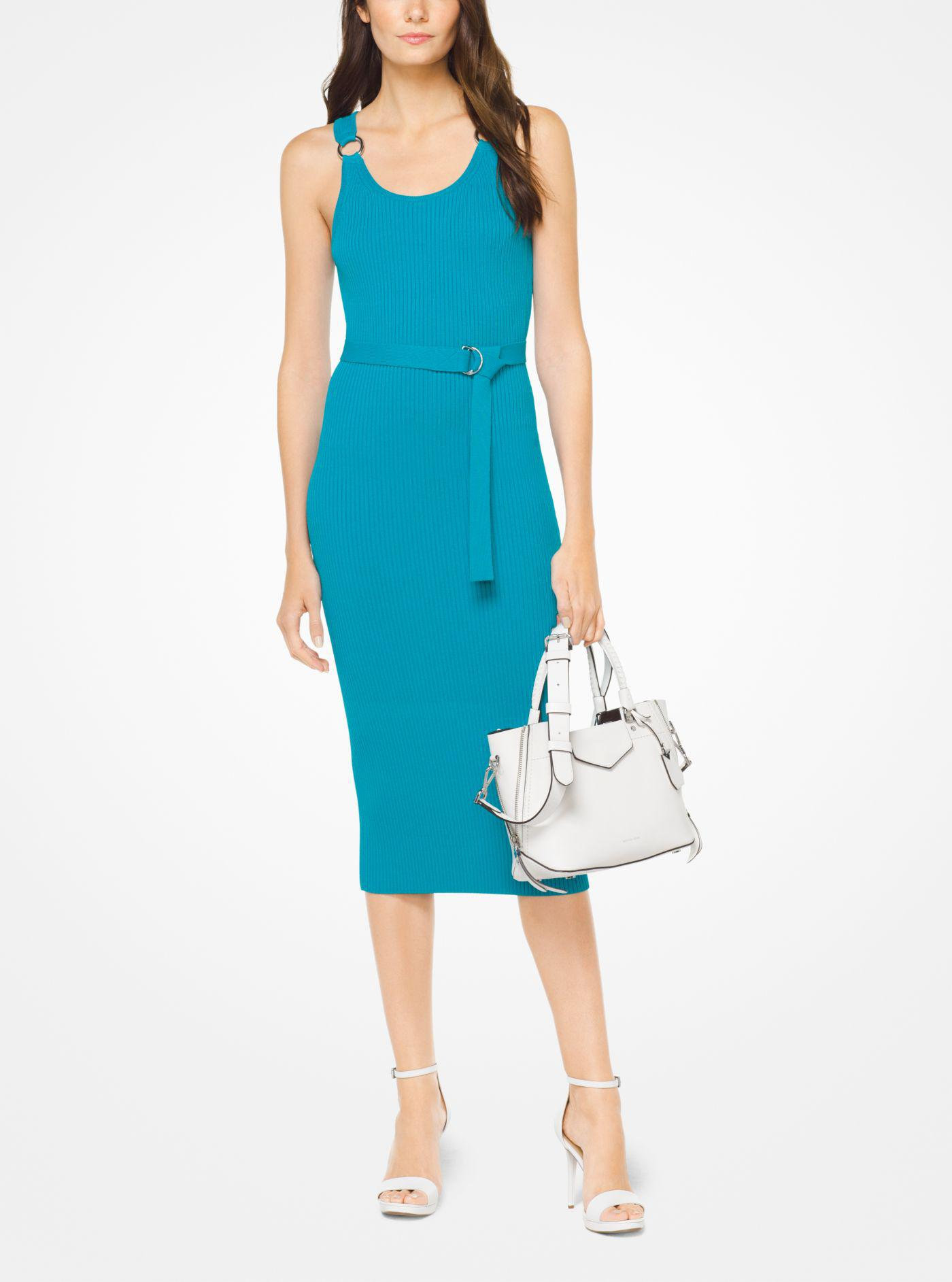 Michael Kors Women S Blue Belted Ribbed Knit Dress