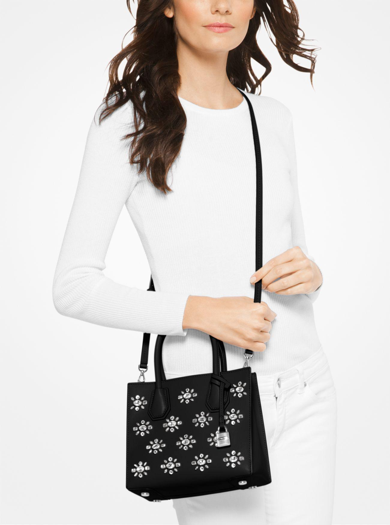 cecd73e01be0 ... official store lyst michael kors mercer crystal embellished leather  crossbody in e6bbb b6d77