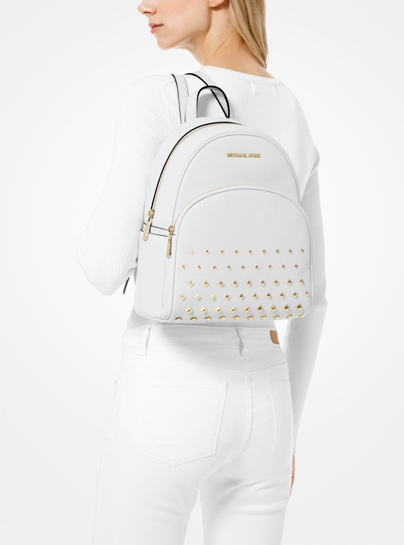 b5957cae0 Michael Kors Abbey Medium Studded Backpack Leather White Bag in ...