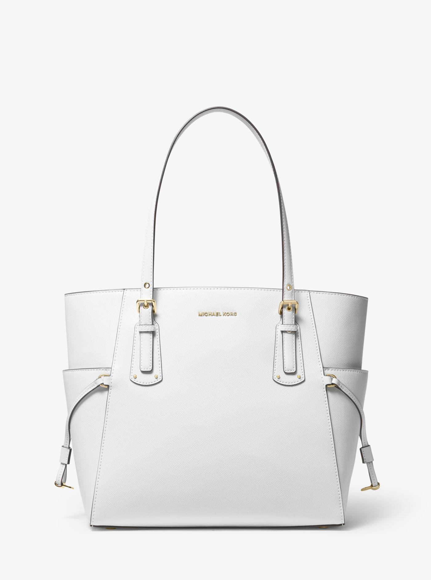 9ce1d5c7a6aab Michael Kors Voyager Crossgrain Leather Tote in White - Lyst