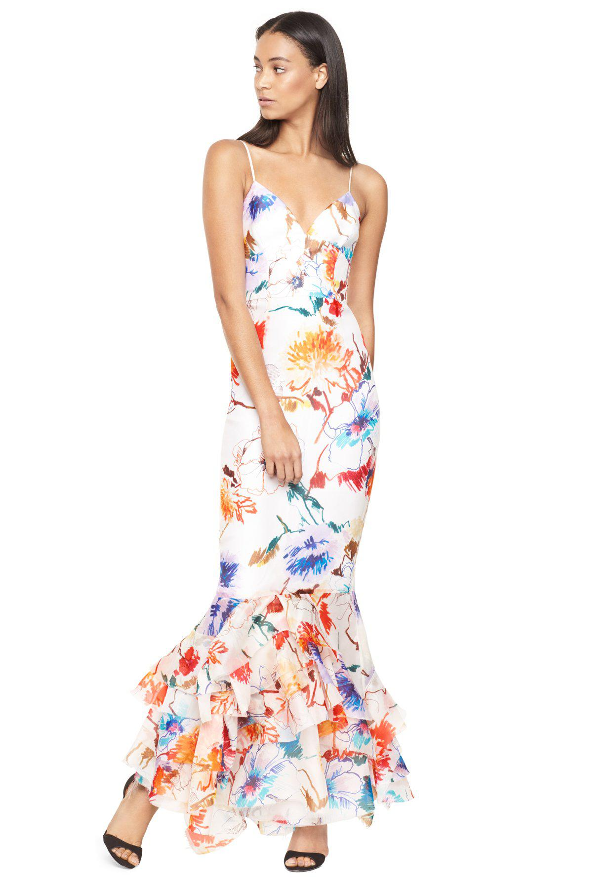 7ee5bc936e07 Lyst - MILLY Floral Printed Gazar Milan Gown - Save 20%