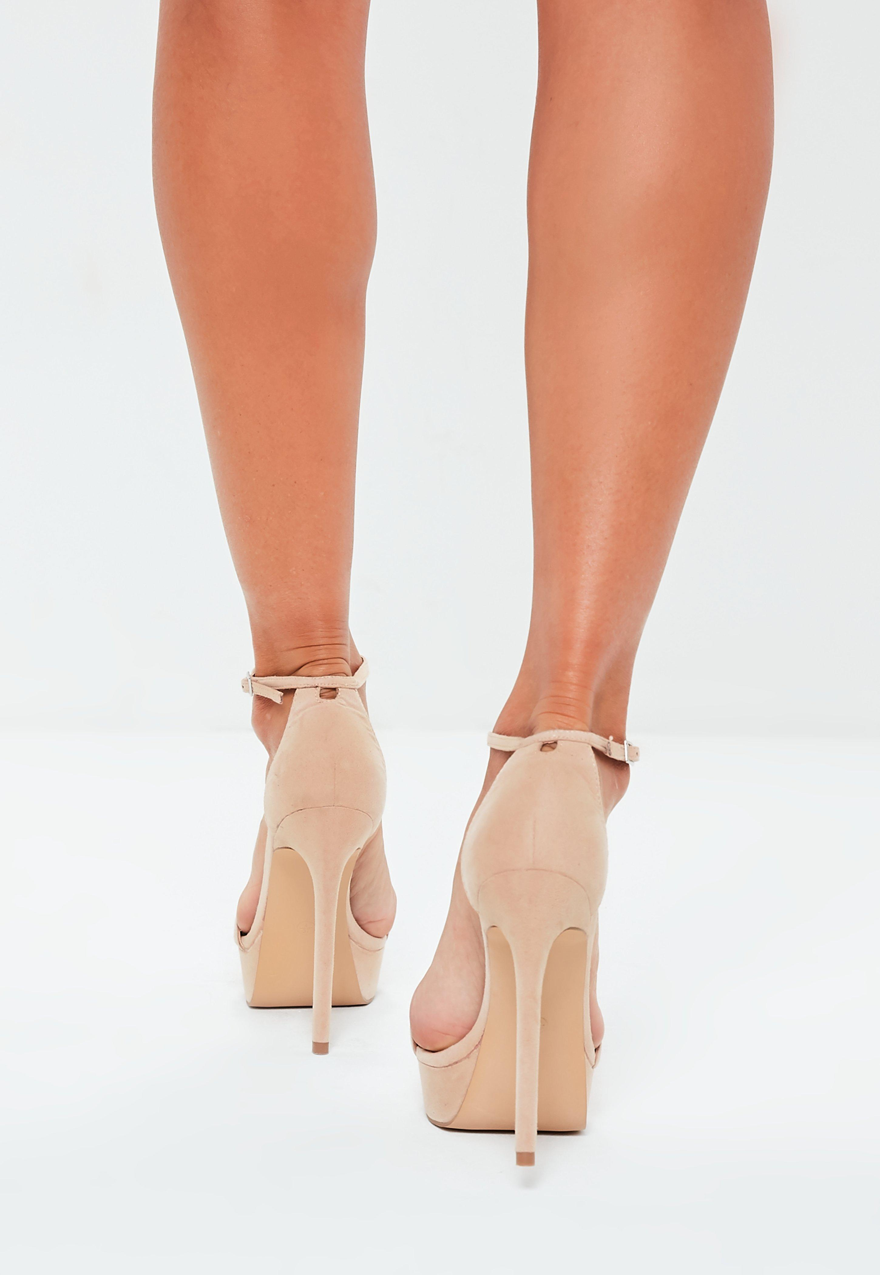 7c7f5efc197d Missguided - Natural Nude Faux Suede Simple Strap Platform Heeled Sandals -  Lyst. View fullscreen