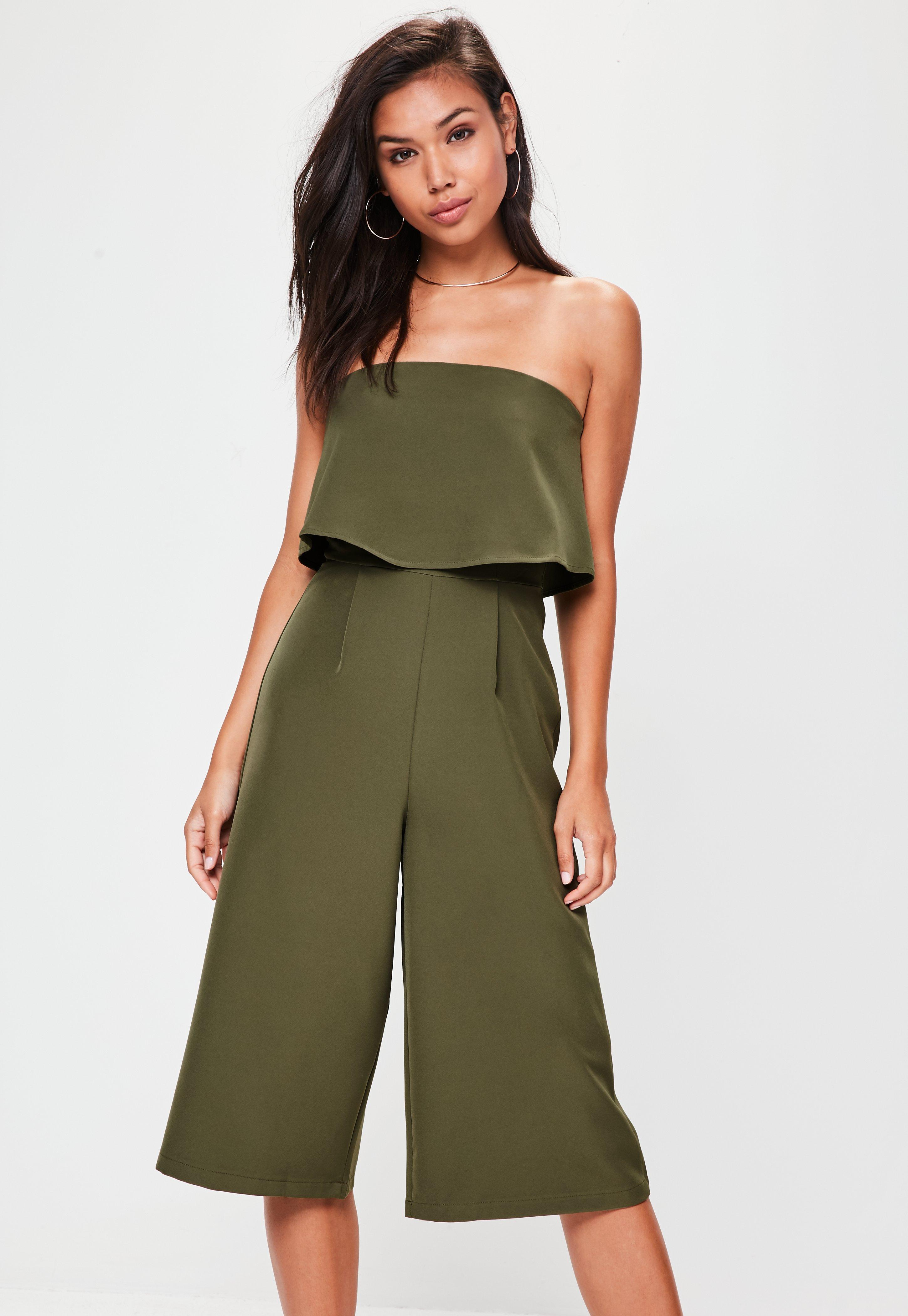 5f8013b8e91 Lyst - Missguided Khaki Crepe Double Layer Culotte Jumpsuit in Green ...