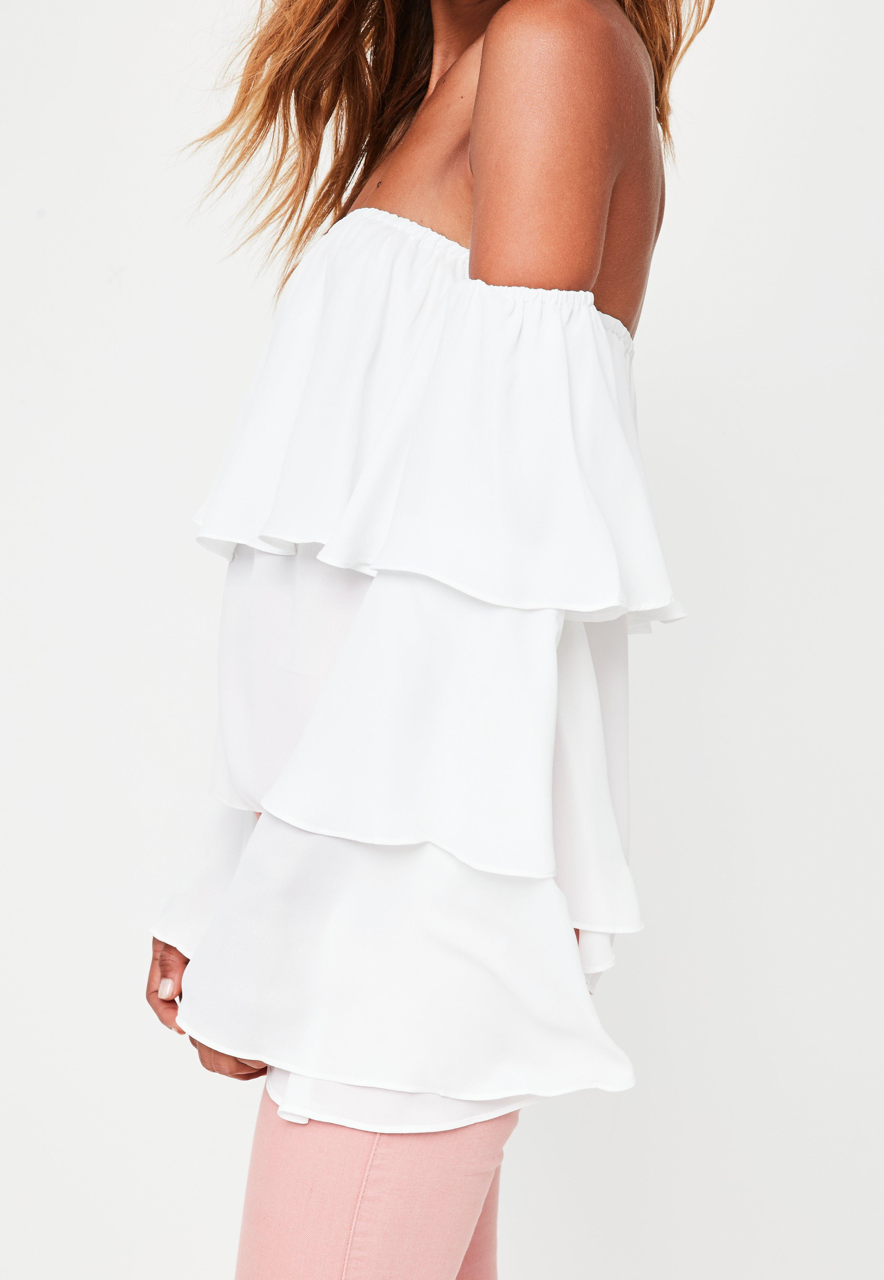 54004ab41ed2be Missguided Tall White Chiffon Bardot Top in White - Lyst
