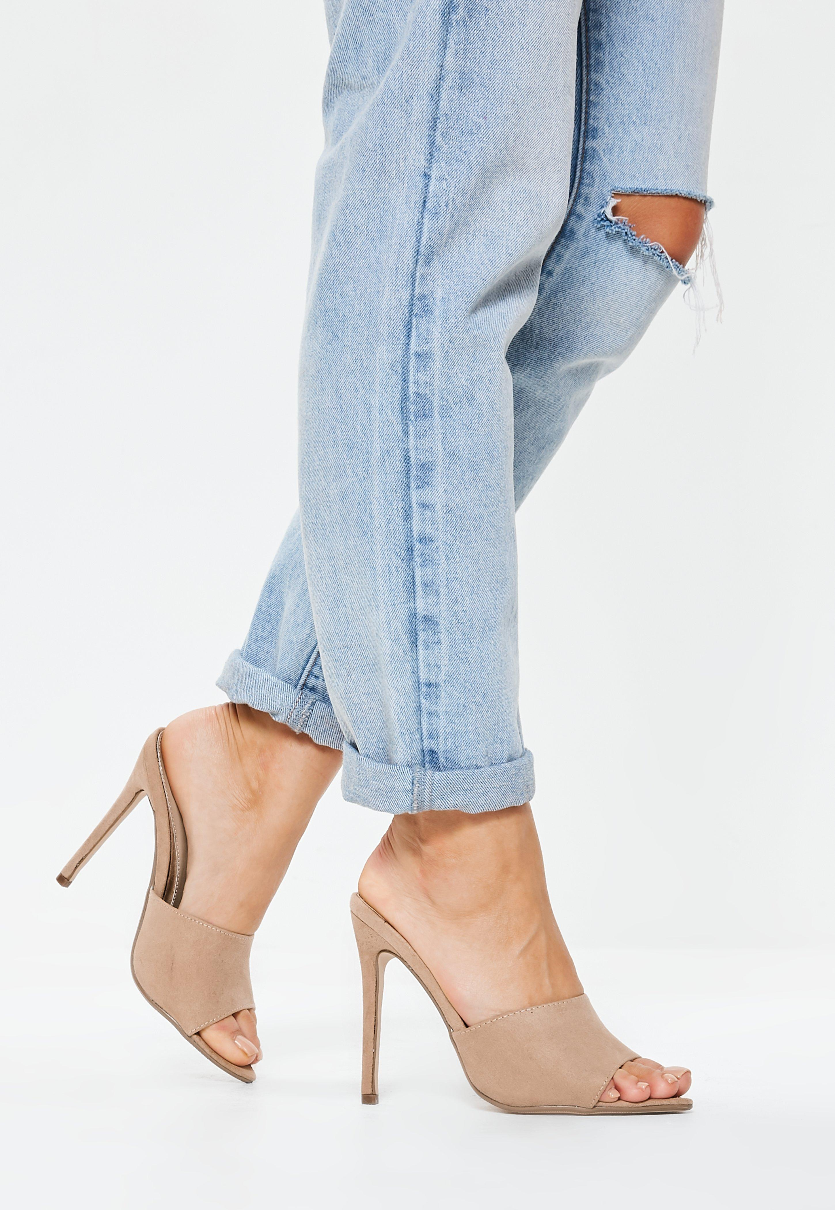 cc42255a56 Lyst - Missguided Nude Faux Suede Peep Toe Mules in Blue
