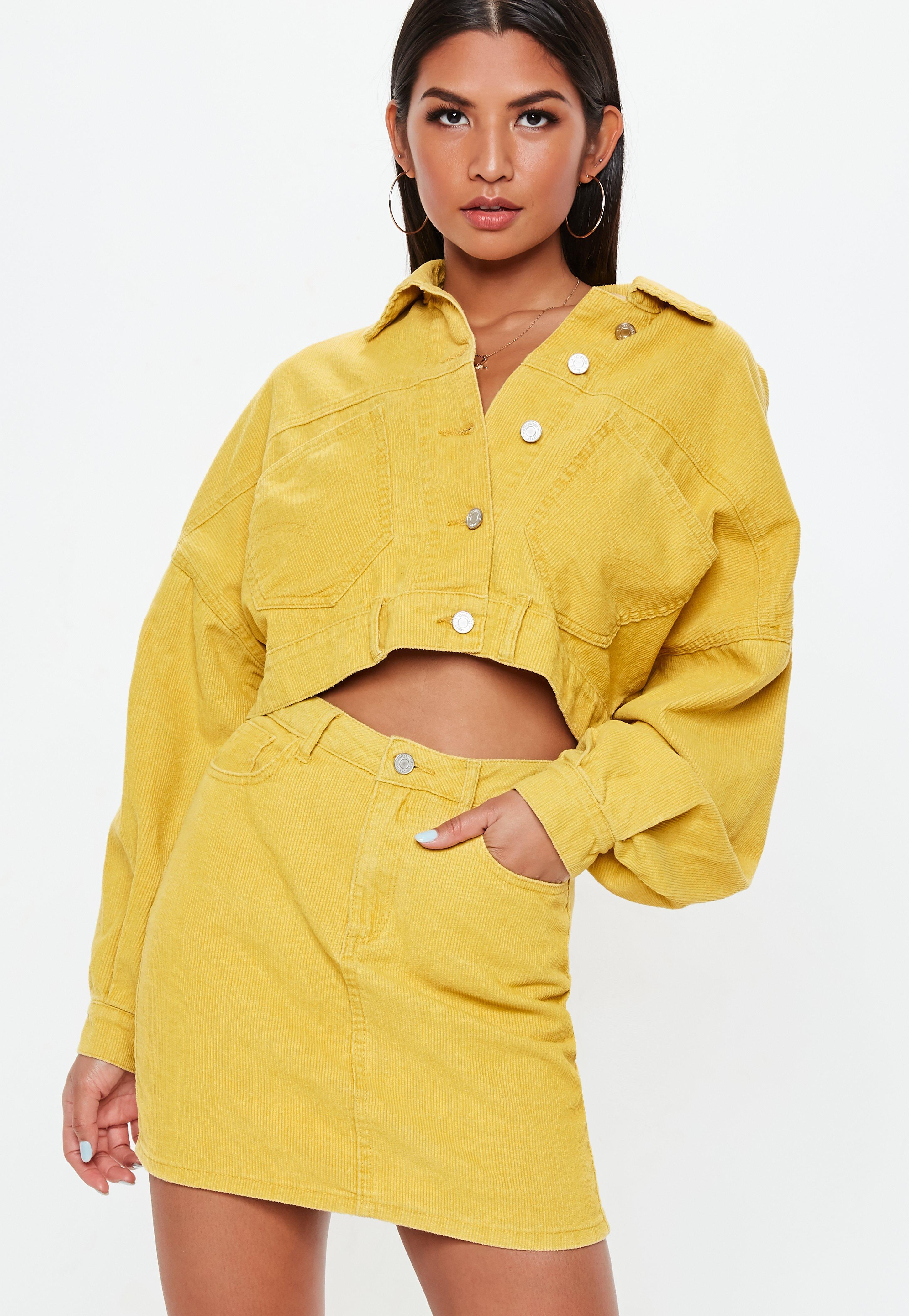 245b1cdd38 Lyst - Missguided Petite Mustard A Line Cord Mini Skirt in Yellow ...
