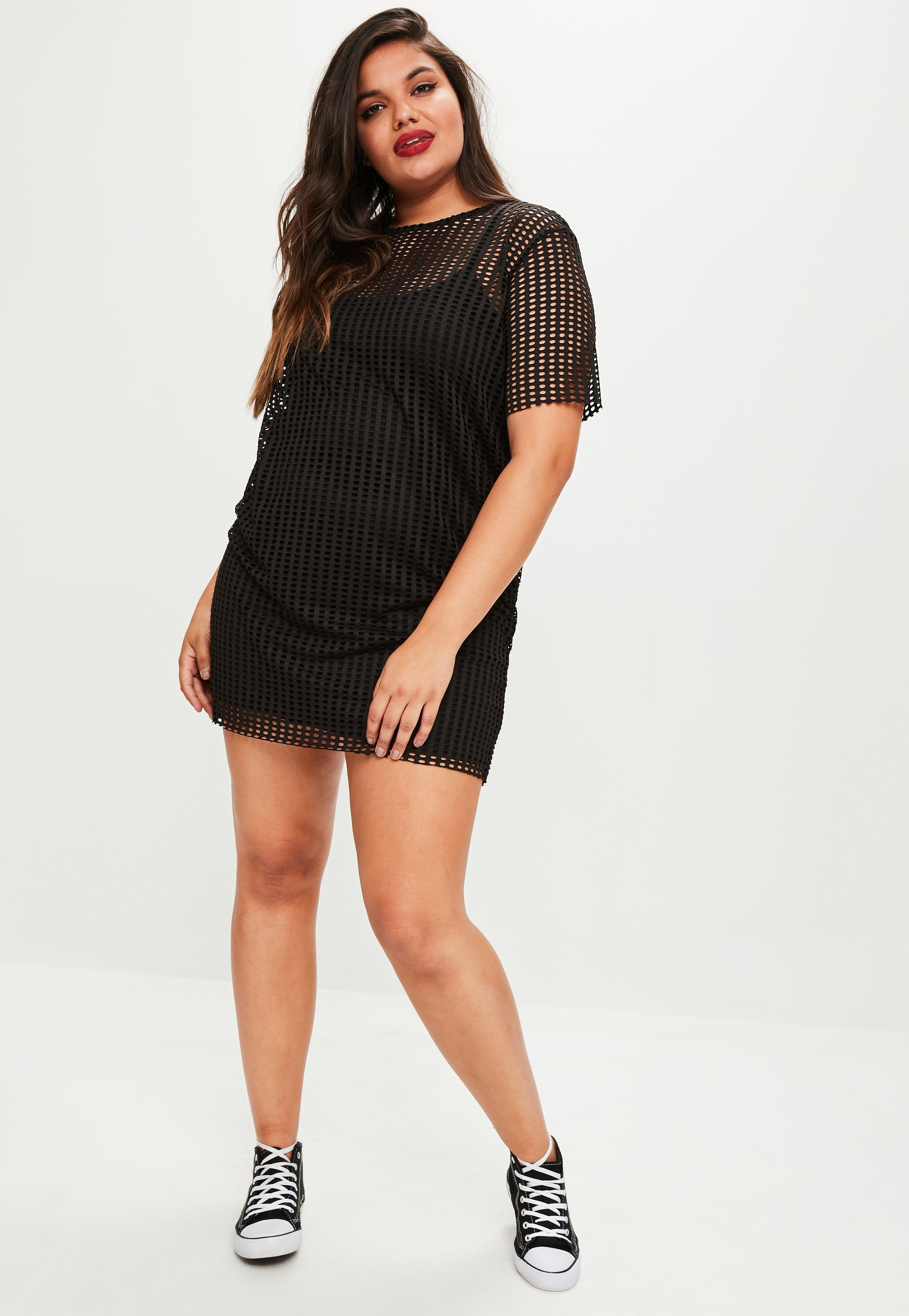 d2e15c4ca13 Lyst - Missguided Plus Size Black Fishnet Mesh T-shirt Dress in Black